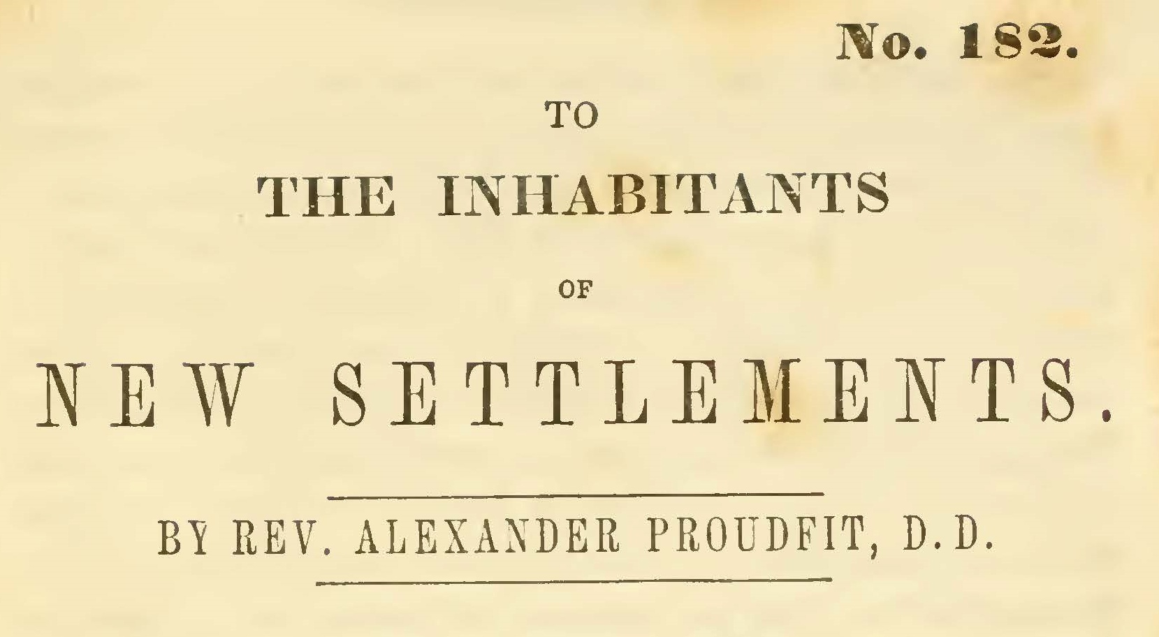 Proudfit, Alexander, To the Inhabitants of New Settlements Title Page.jpg