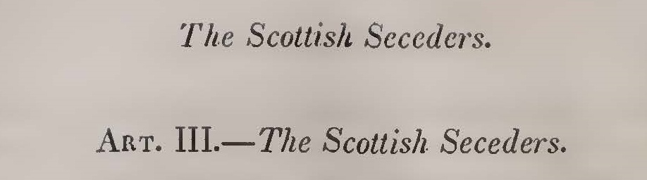 Alexander, Archibald, The Scottish Seceders Title Page.jpg
