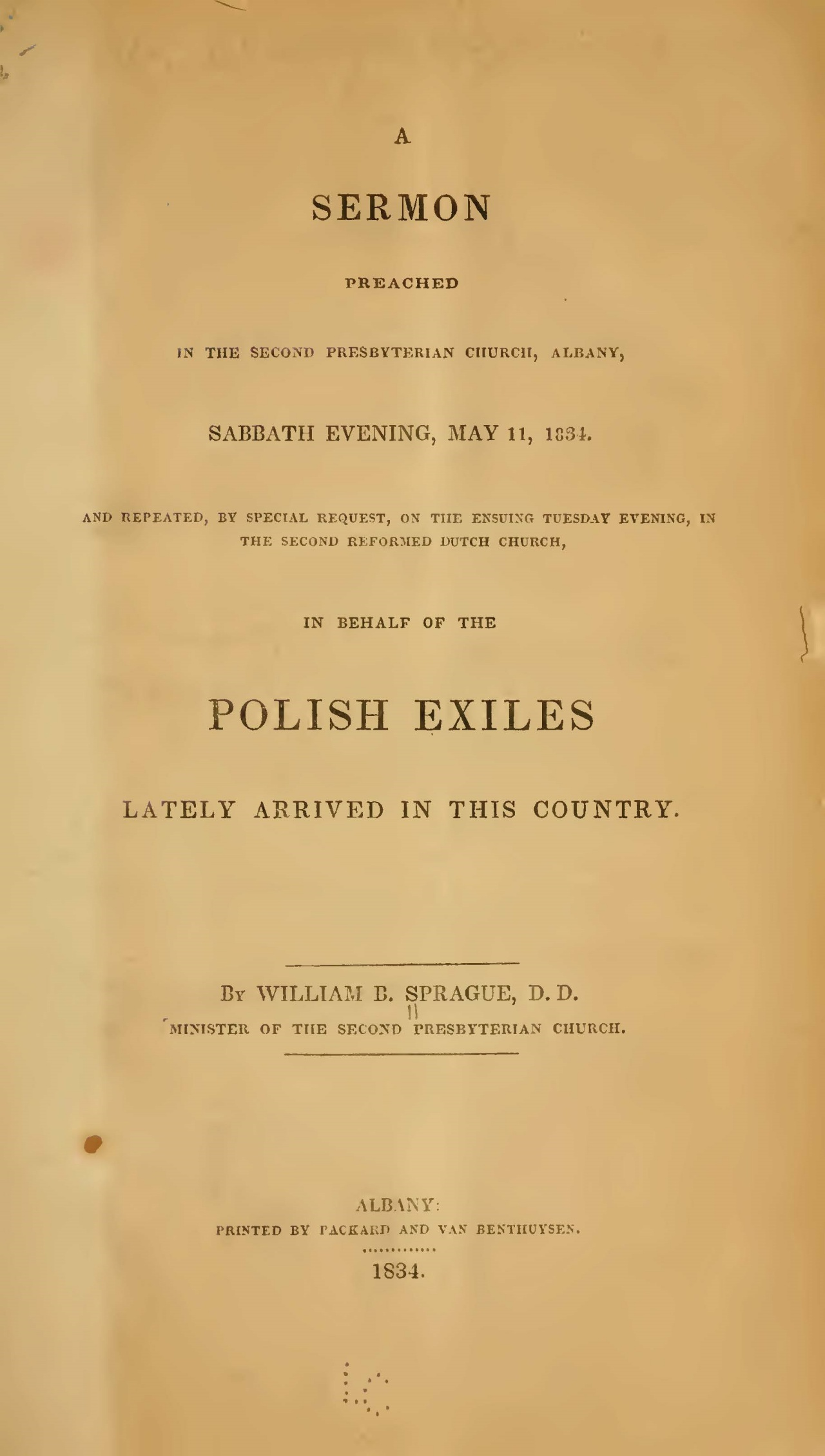 Sprague, William Buell, A Sermon Preached in the Second Presbyterian Church, Albany, May 11, 1834 Title Page.jpg