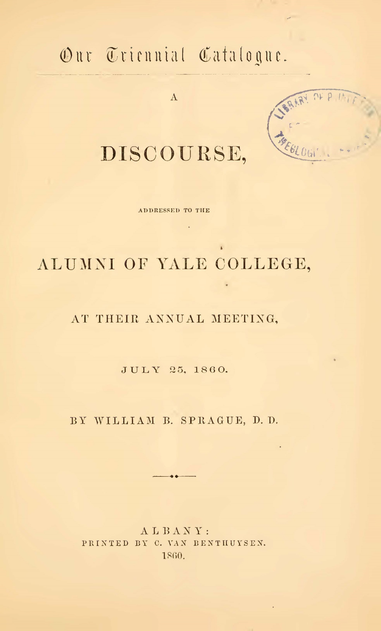 Sprague, William Buell, A Discourse Addressed to the Alumni of Yale College Title Page.jpg