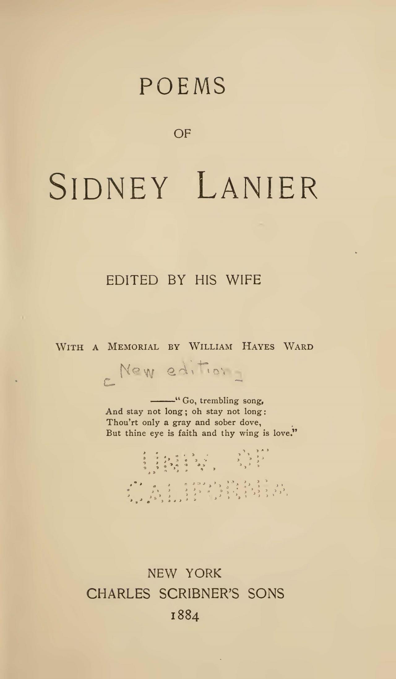 Lanier, Sr., Sidney Clopton, Poems of Sidney Lanier Title Page.jpg