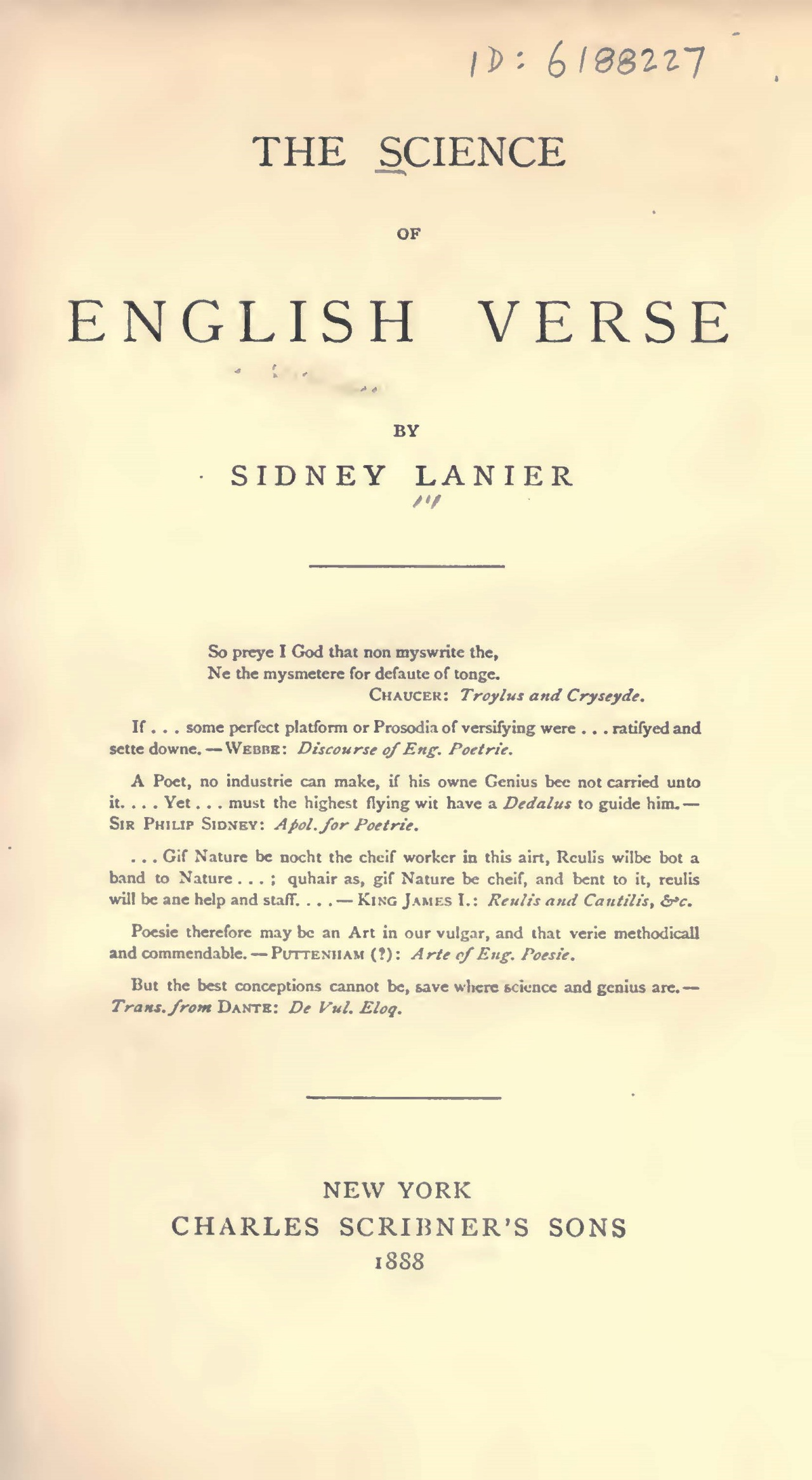 Lanier, Sr., Sidney Clopton, The Science of English Verse Title Page.jpg