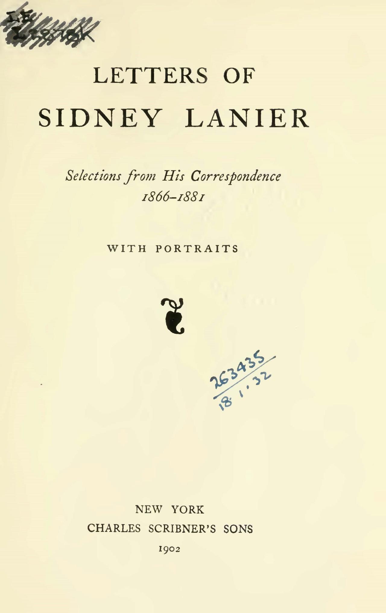 Lanier, Sr., Sidney Clopton, Letters of Sidney Lanier Title Page.jpg