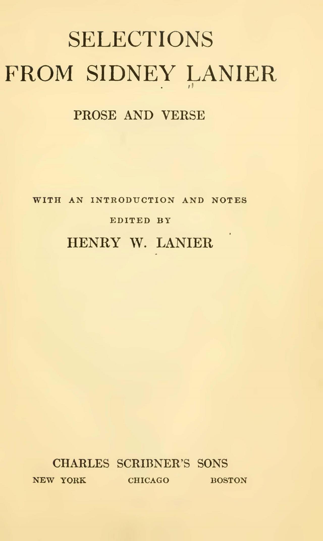 Lanier, Sr., Sidney Clopton, Selections From Sidney Lanier Title Page.jpg