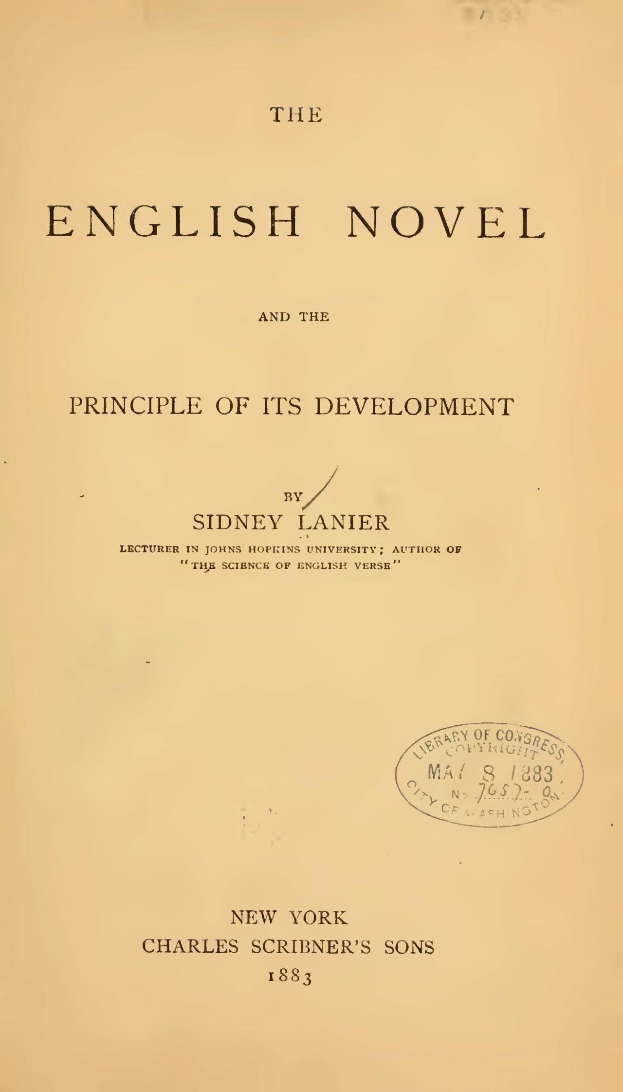Lanier, Sr., Sidney Clopton, The English Novel Title Page.jpg