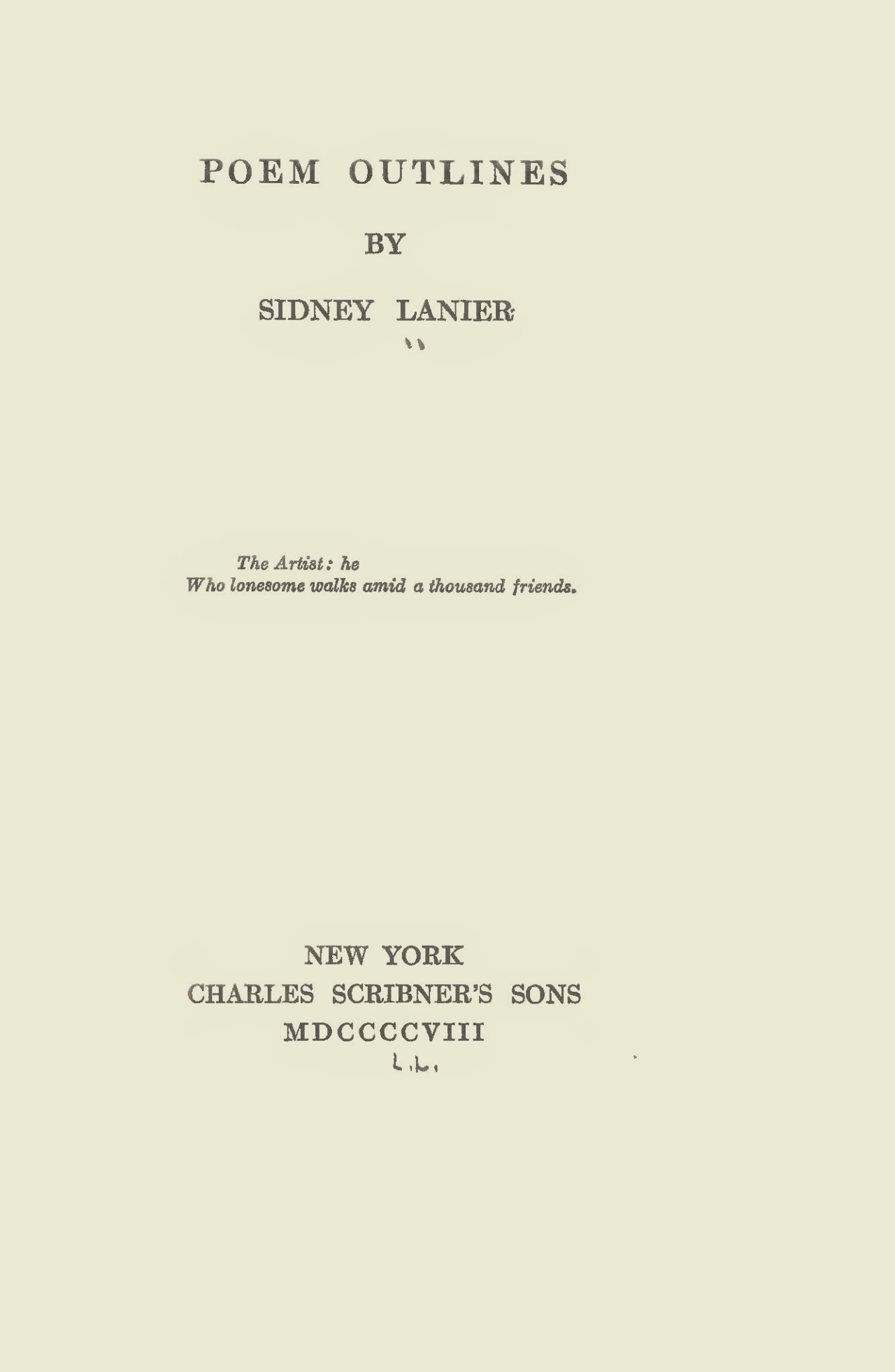 Lanier, Sr., Sidney Clopton, Poem Outlines Title Page.jpg