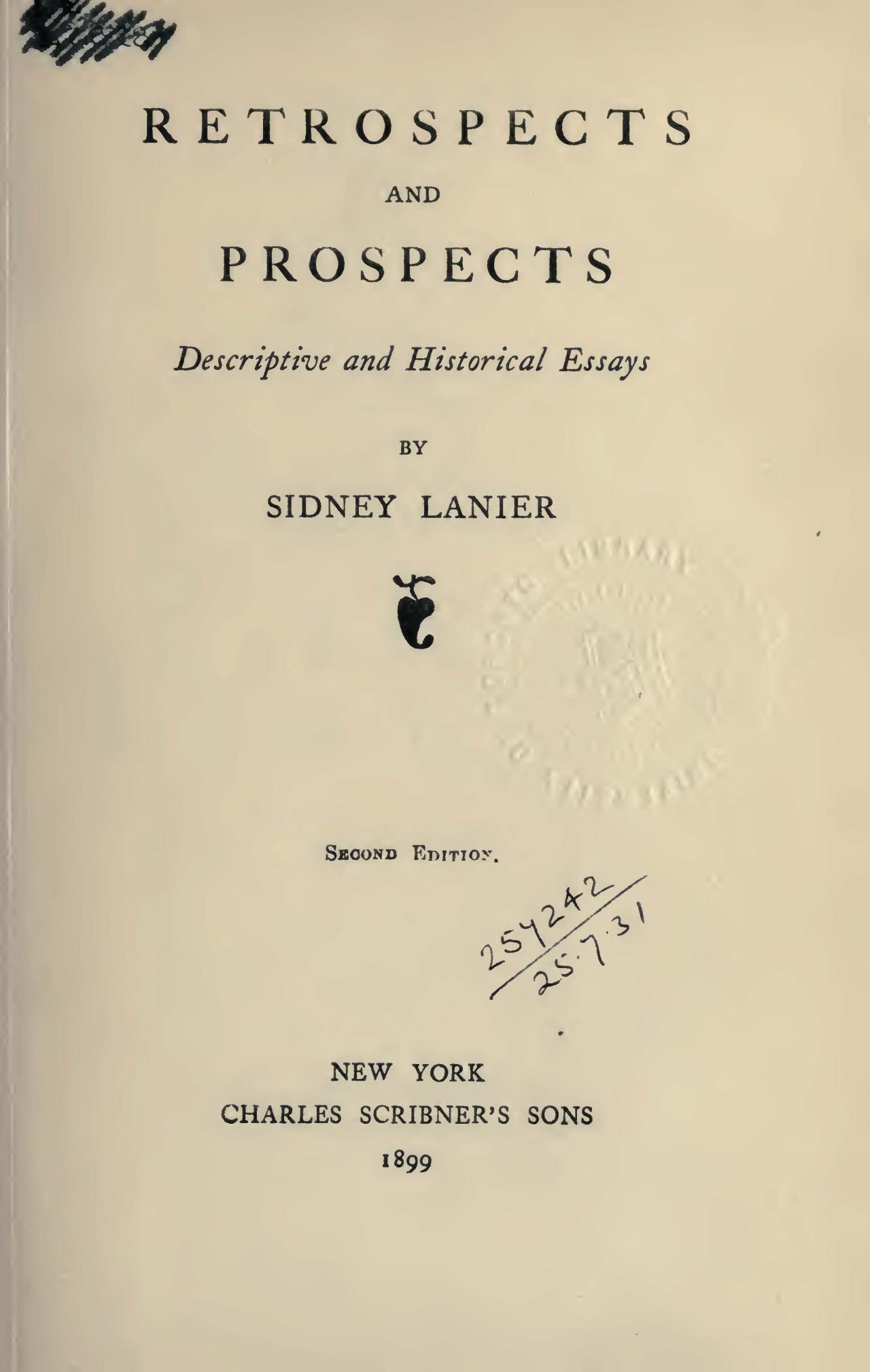 Lanier, Sr., Sidney Clopton, Retrospects and Prospects Title Page.jpg