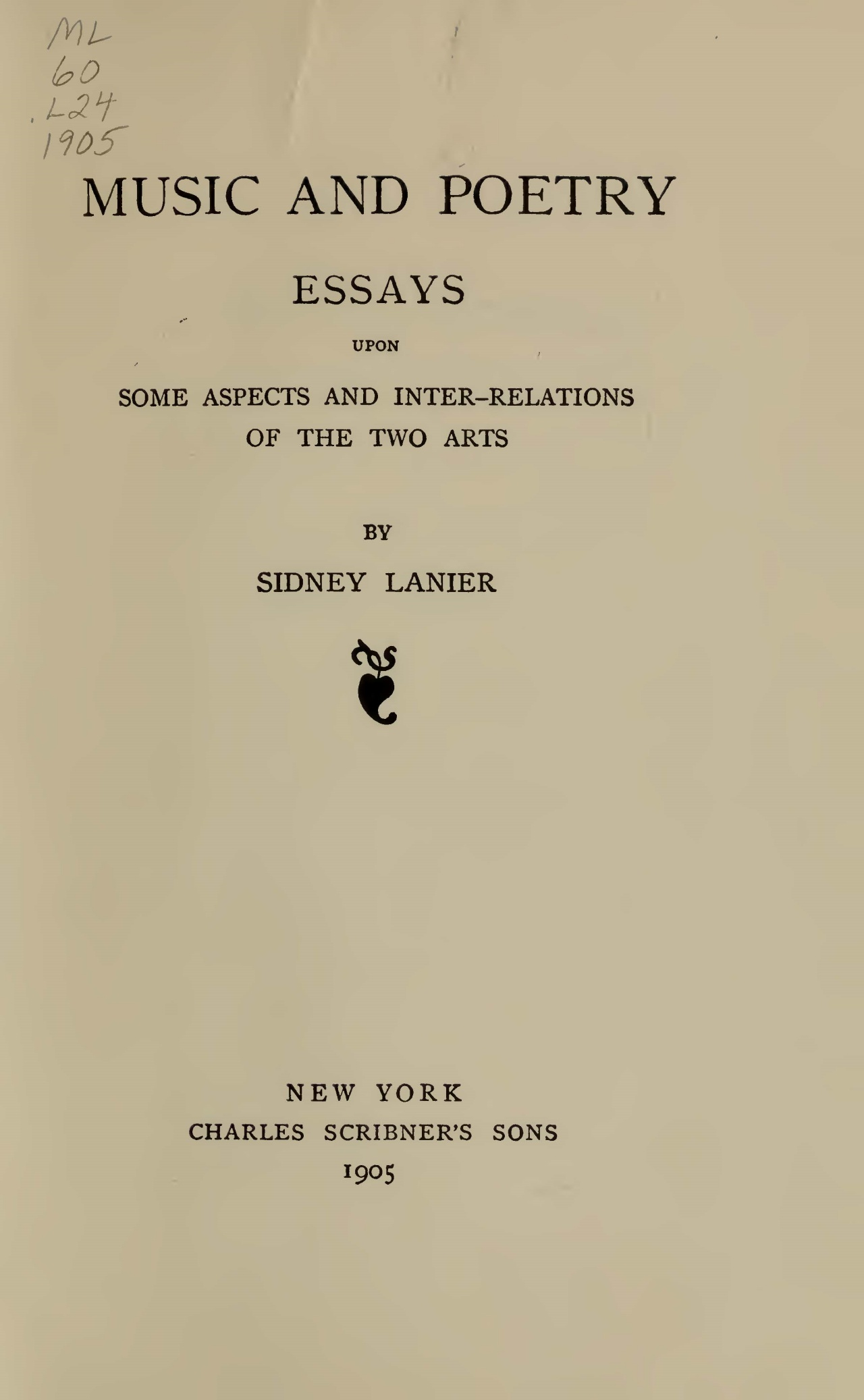 Lanier, Sr., Sidney Clopton, Music and Poetry Title Page.jpg