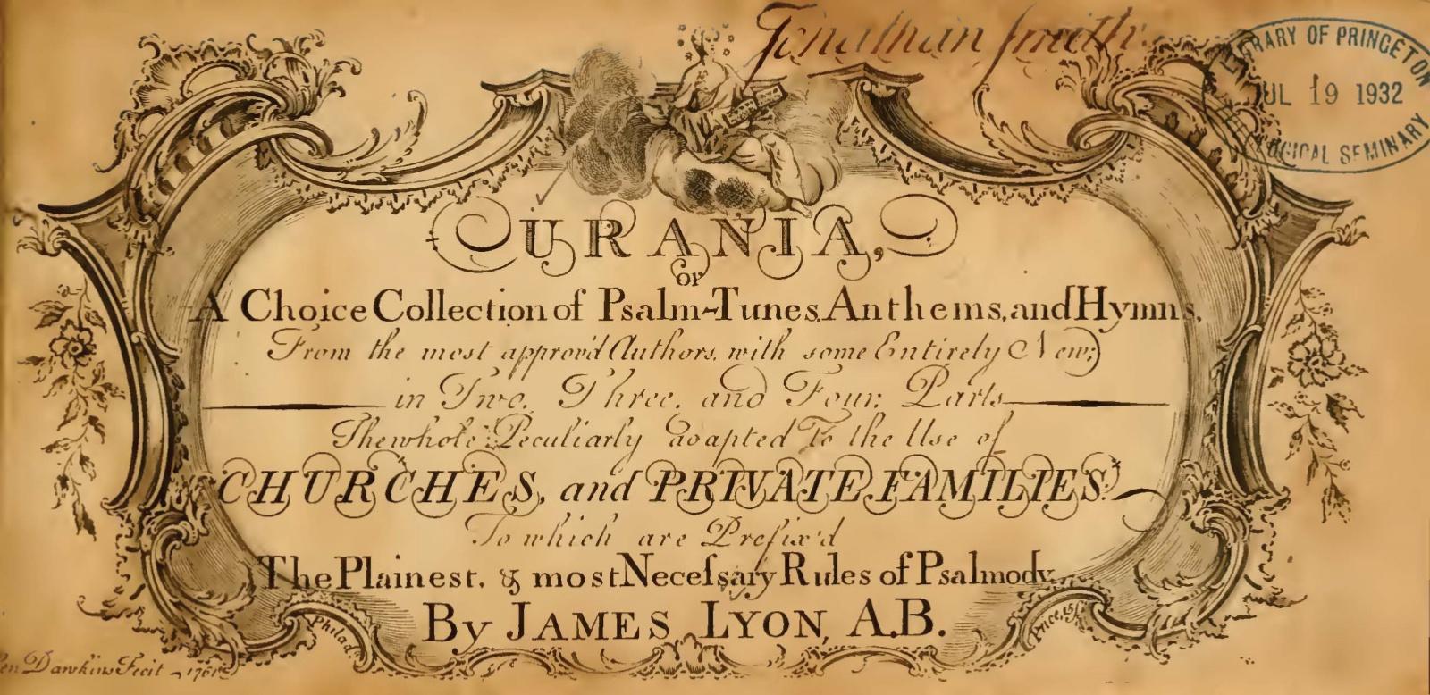 Lyon, James, Urania Title Page.jpg