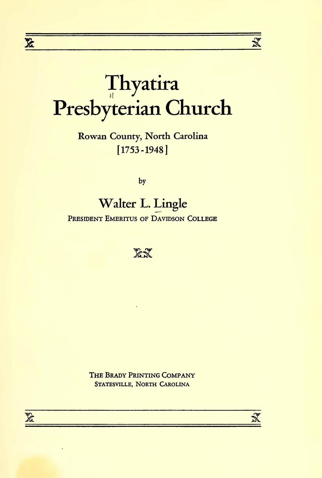Lingle, Walter Lee, Thyatira Presbyterian Church Title Page.jpg