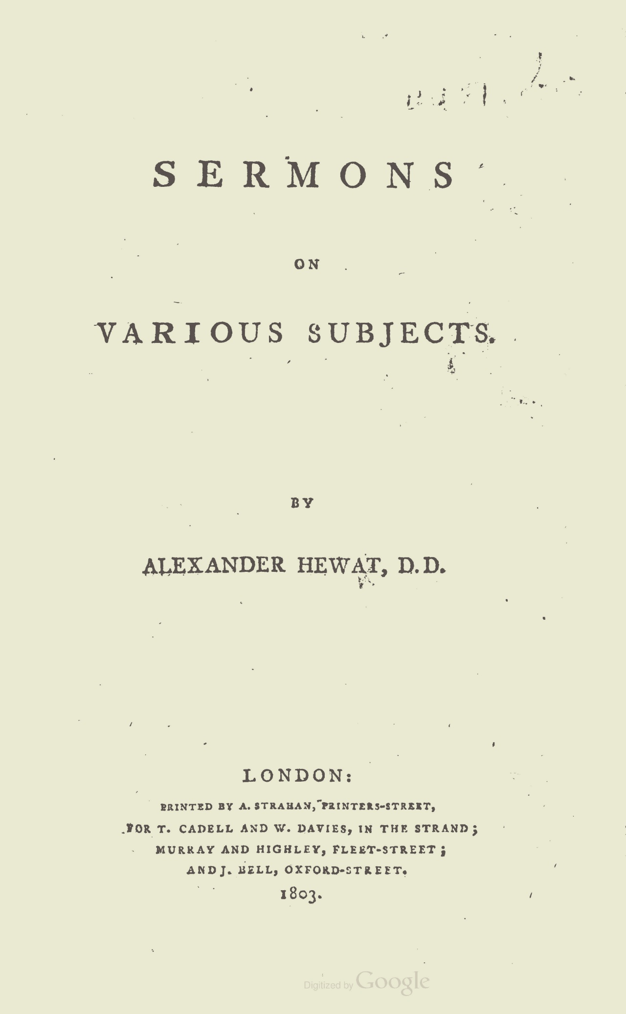 Hewat, Alexander, Sermons on Various Subjects Title Page.jpg