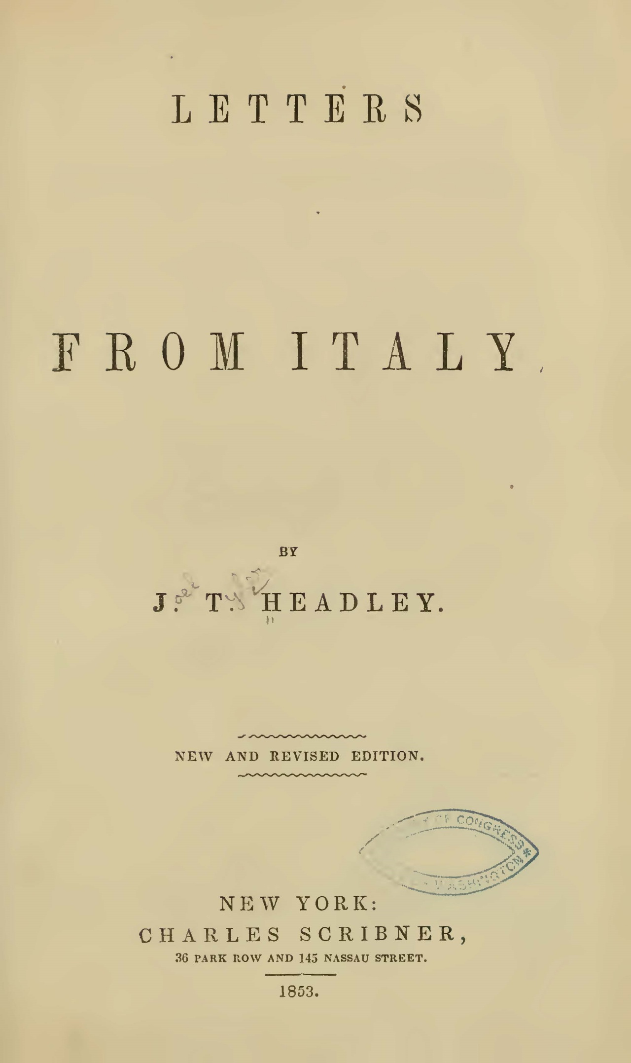 Headley, Joel Tyler, Letters from Italy Title Page.jpg
