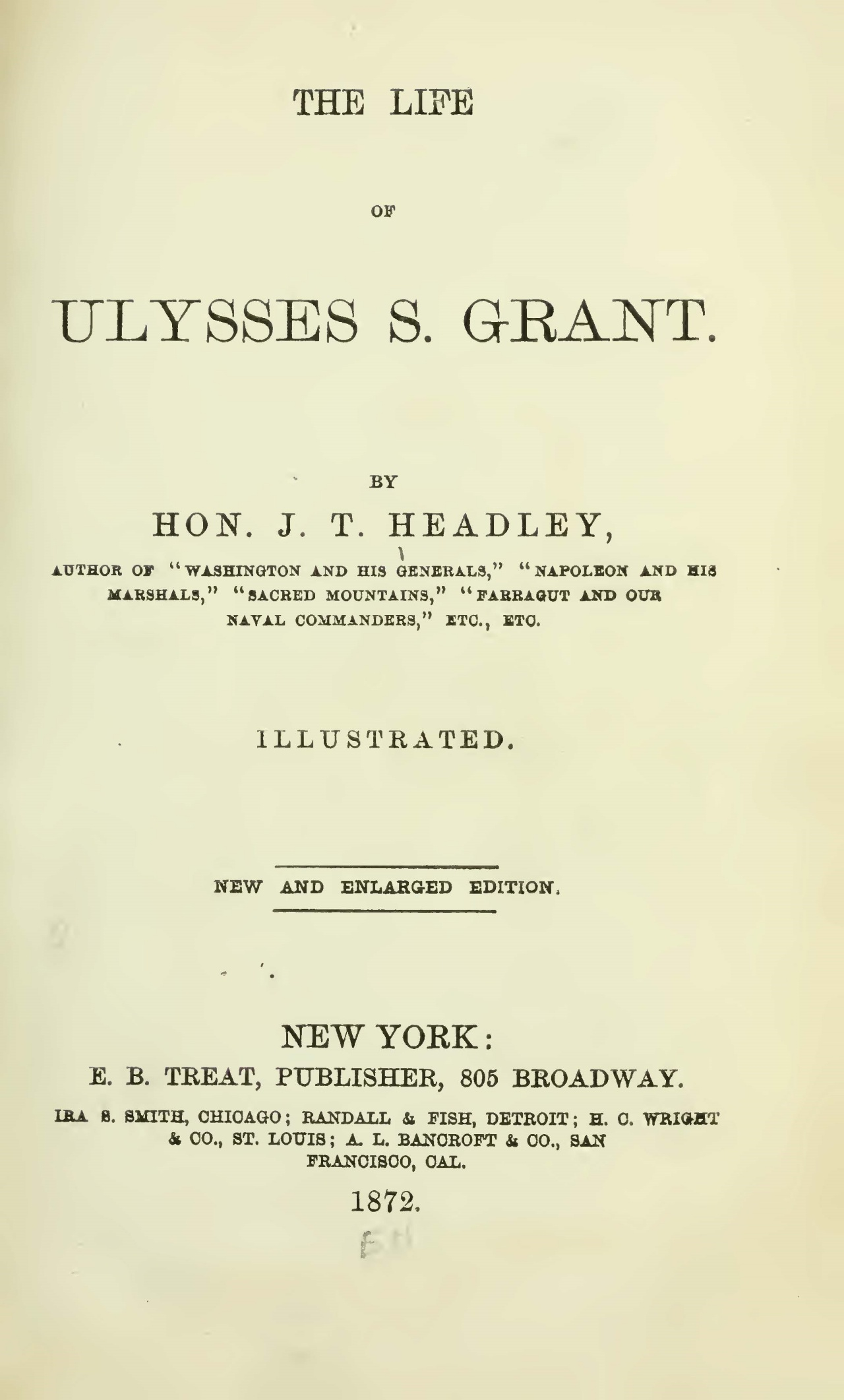 Headley, Joel Tyler, The Life of Ulysses S. Grant Title Page.jpg