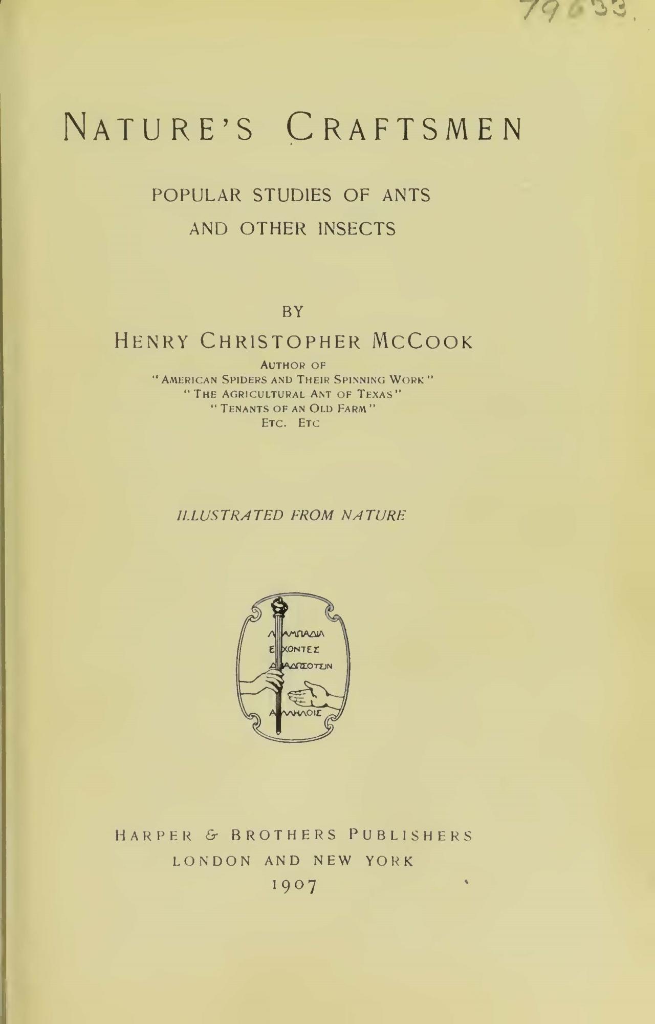McCook, Henry Christopher, Nature's Craftsmen Title Page.jpg