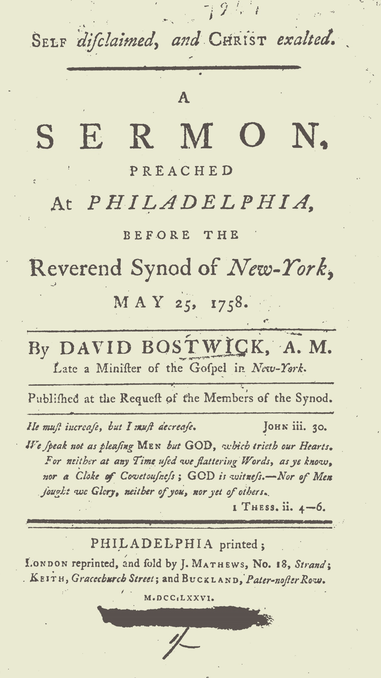 Bostwick, David, Self Disclaimed and Christ Exalted Title Page.jpg