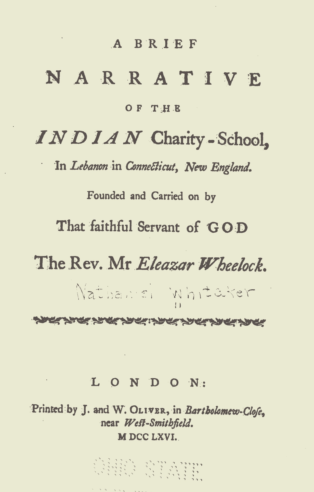 Whitaker, Nathaniel, A Brief Narrative of the Indian Charity-School Title Page.jpg