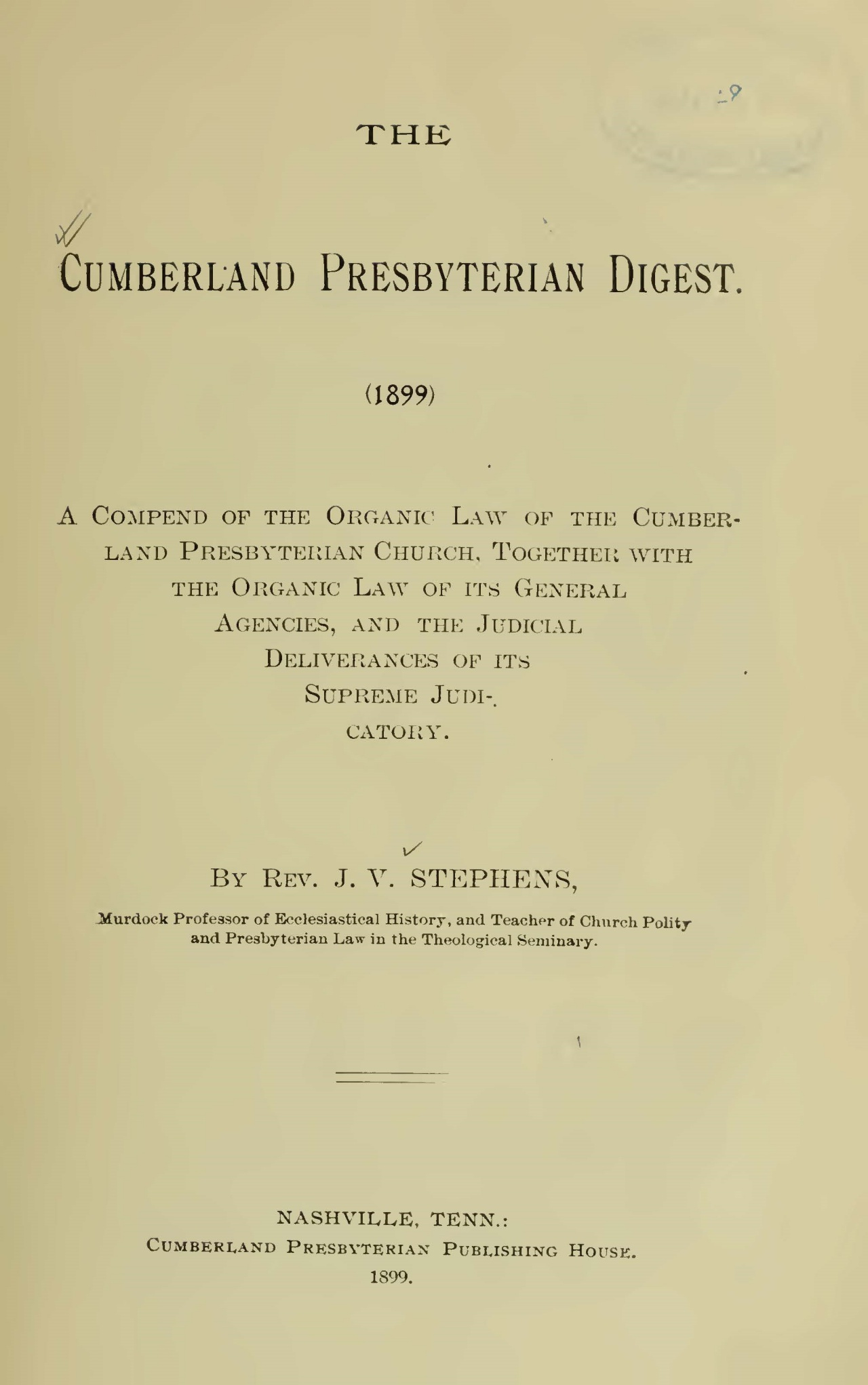 Vant Stephens, Sr., John, The Cumberland Presbyterian Digest Title Page.jpg