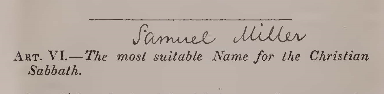Miller, Samuel, The Most Suitable Name for the Christian Sabbath Title Page.jpg