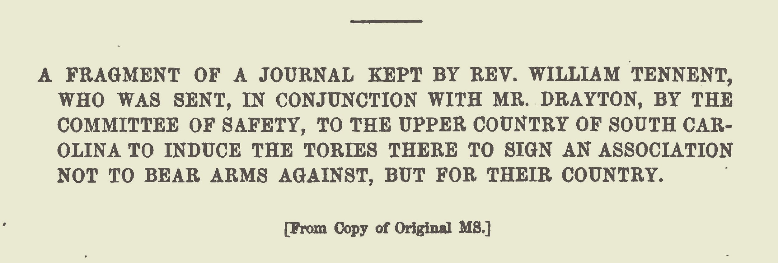 Tennent, III, William, A Fragment of a Journal Kept by Rev. William Tennent Title Page.jpg