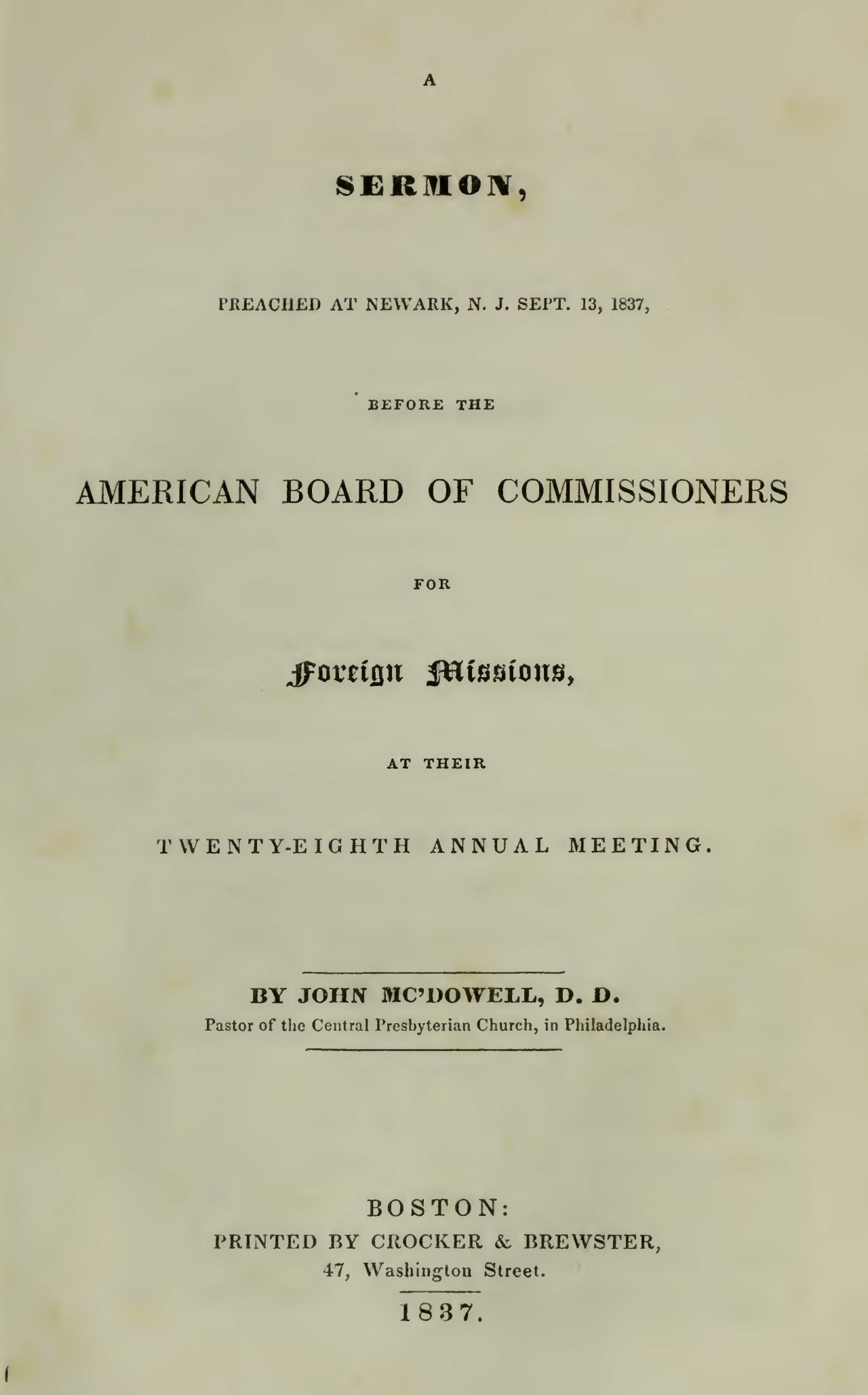 McDowell, John, 1837 Sermon Before the American Board of Commissioners for Foreign Missions Title Page.jpg