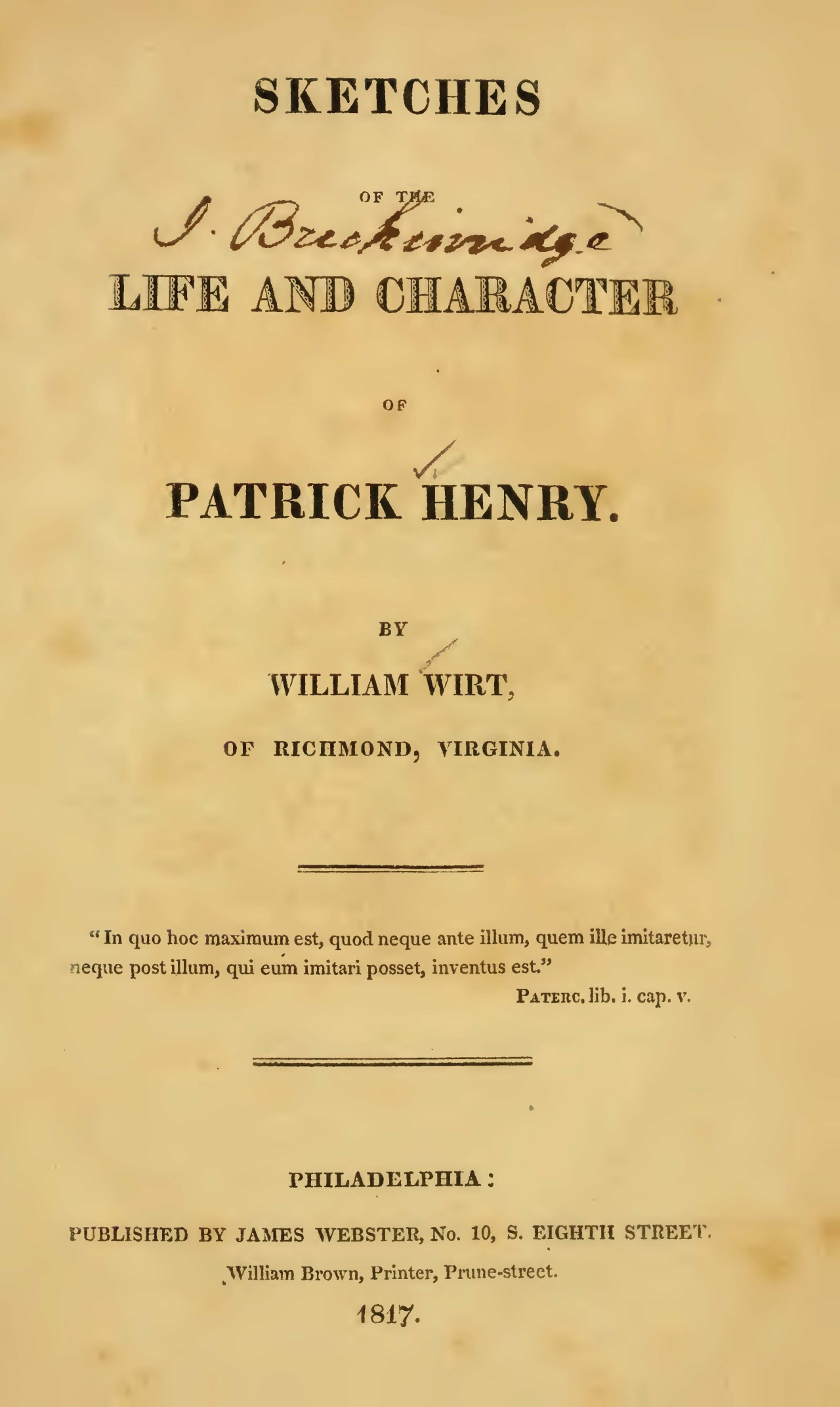 Wirt, William, Sketches of the Life and Character of Patrick Henry Title Page.jpg