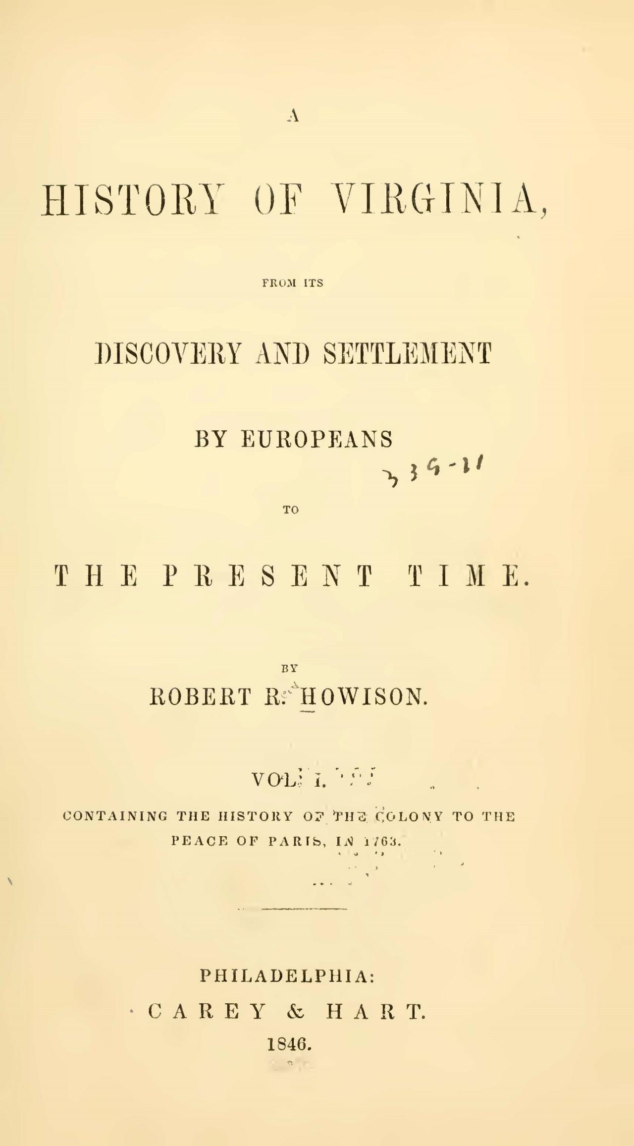 Howison, Robert Reid, A History of Virginia, Vol. 1 Title Page.jpg