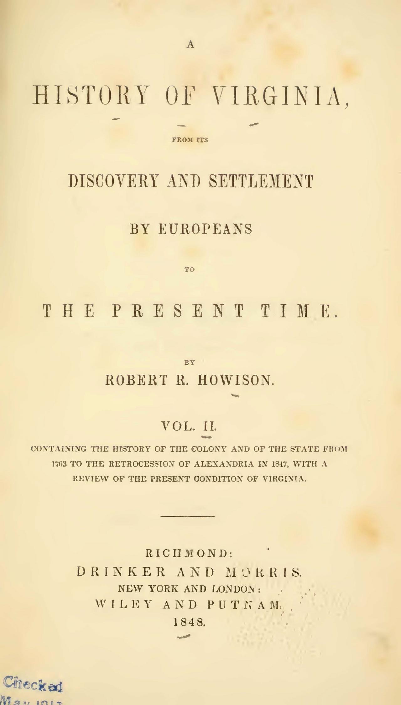 Howison, Robert Reid, A History of Virginia, Vol. 2 Title Page.jpg