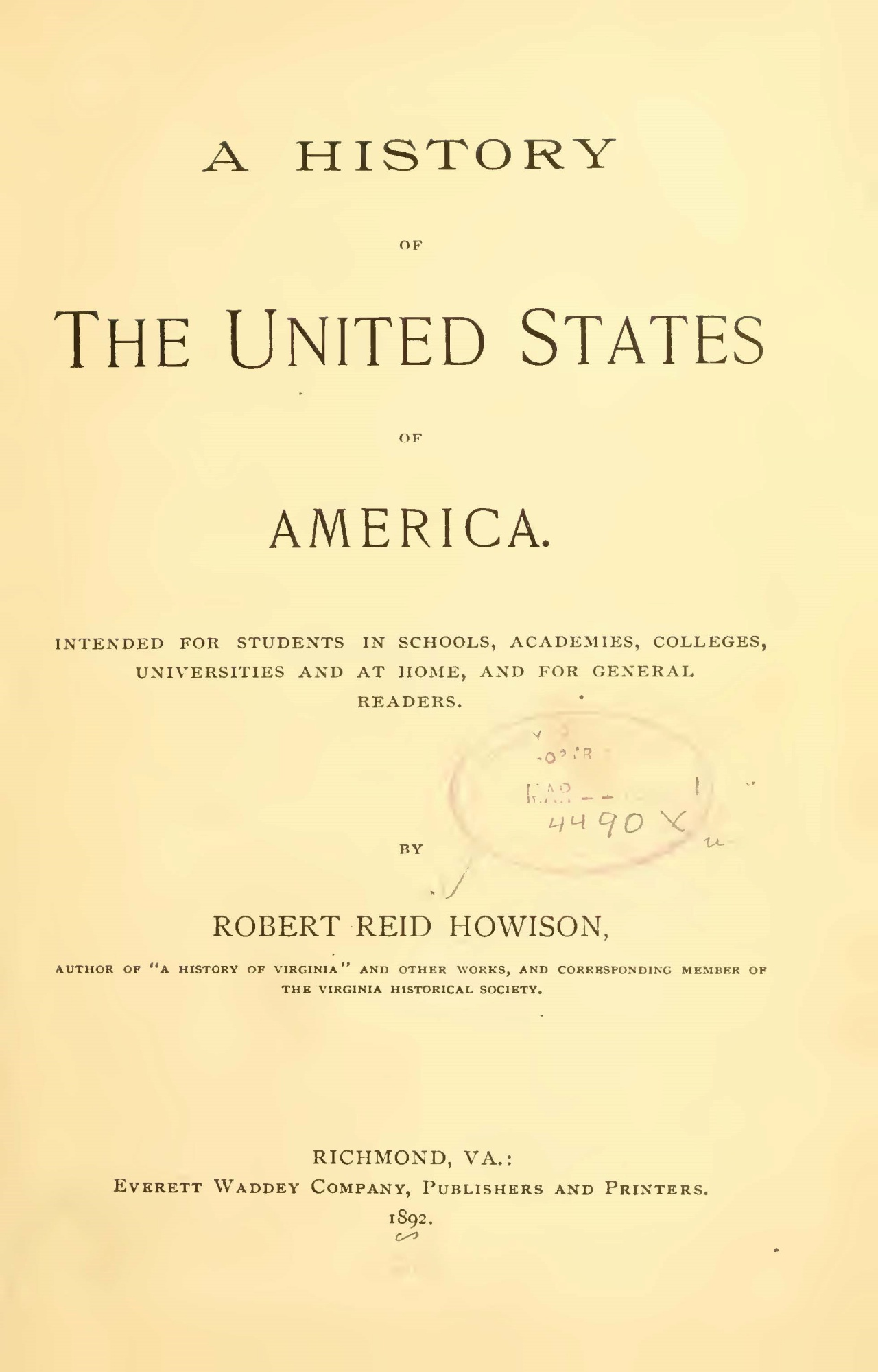 Howison, Robert Reid, A History of the United States Title Page.jpg