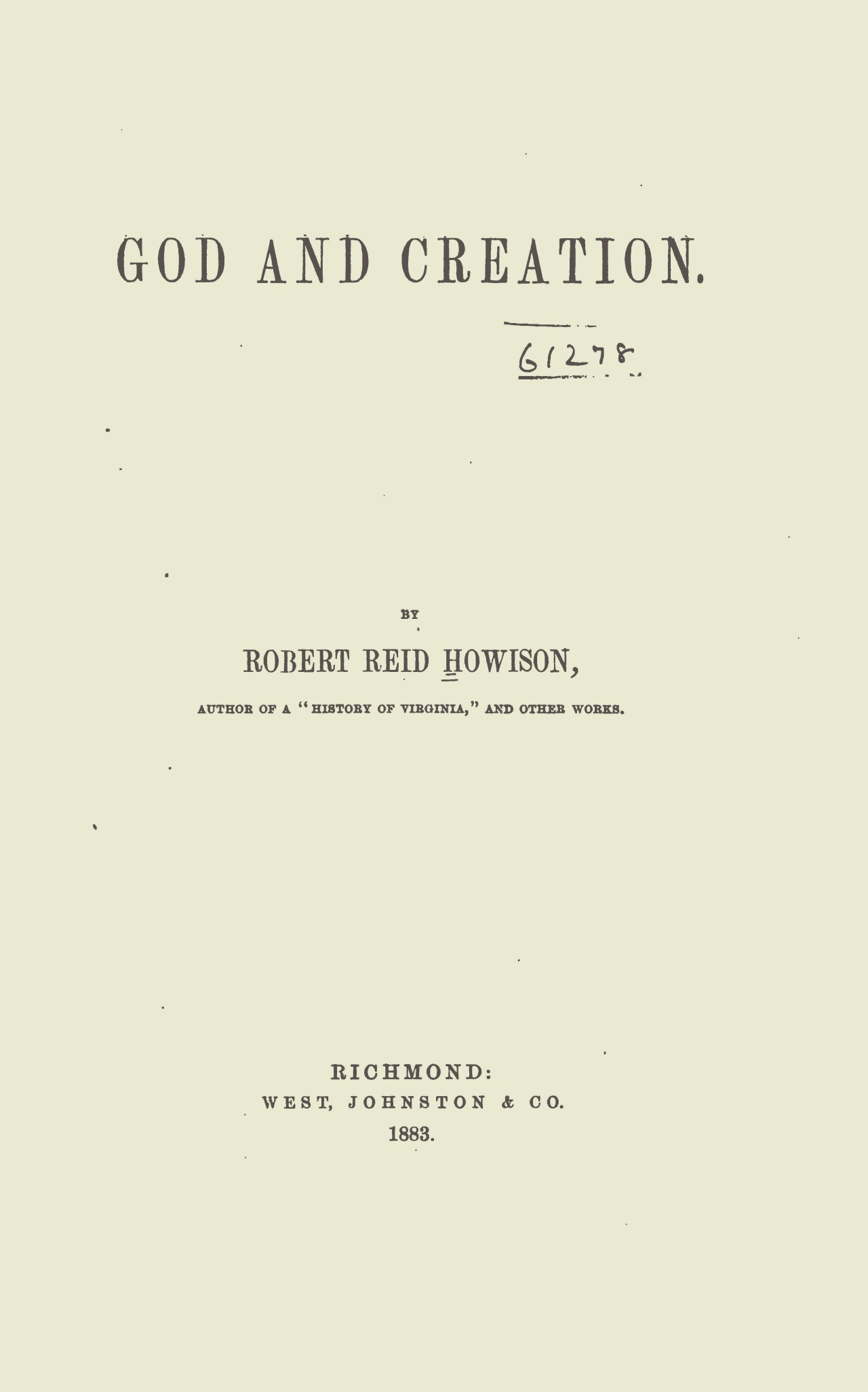 Howison, Robert Reid, God and Creation Title Page.jpg