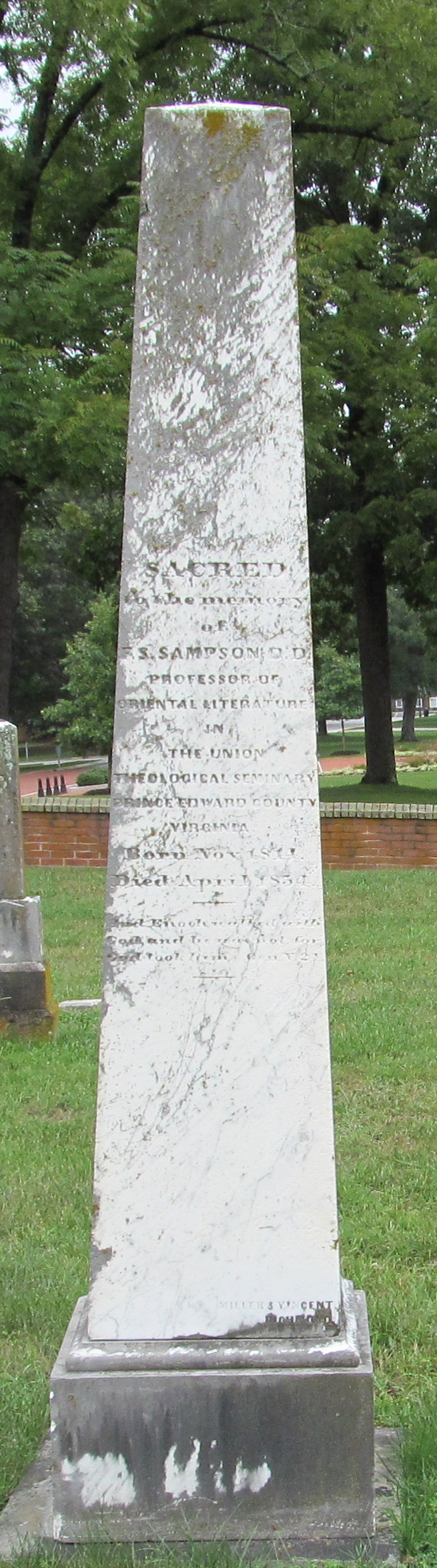 Francis Smith Sampson is buried at the Union Theological Seminary Cemetery, Hampden Sydney, Virginia.