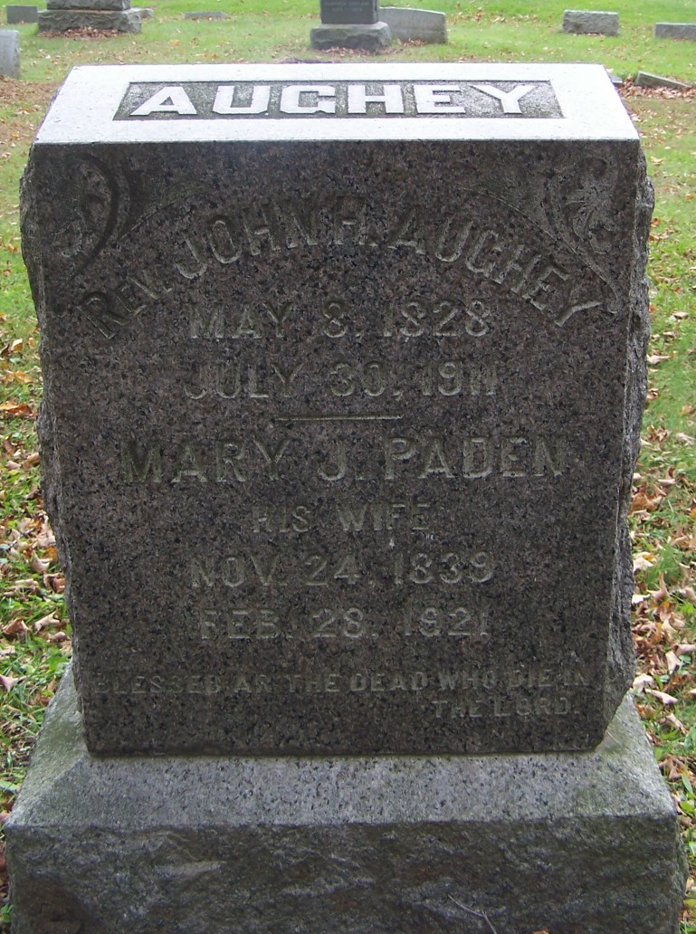 John Hill Aughey is buried at Newton Cemetery, Newton, New Jersey.