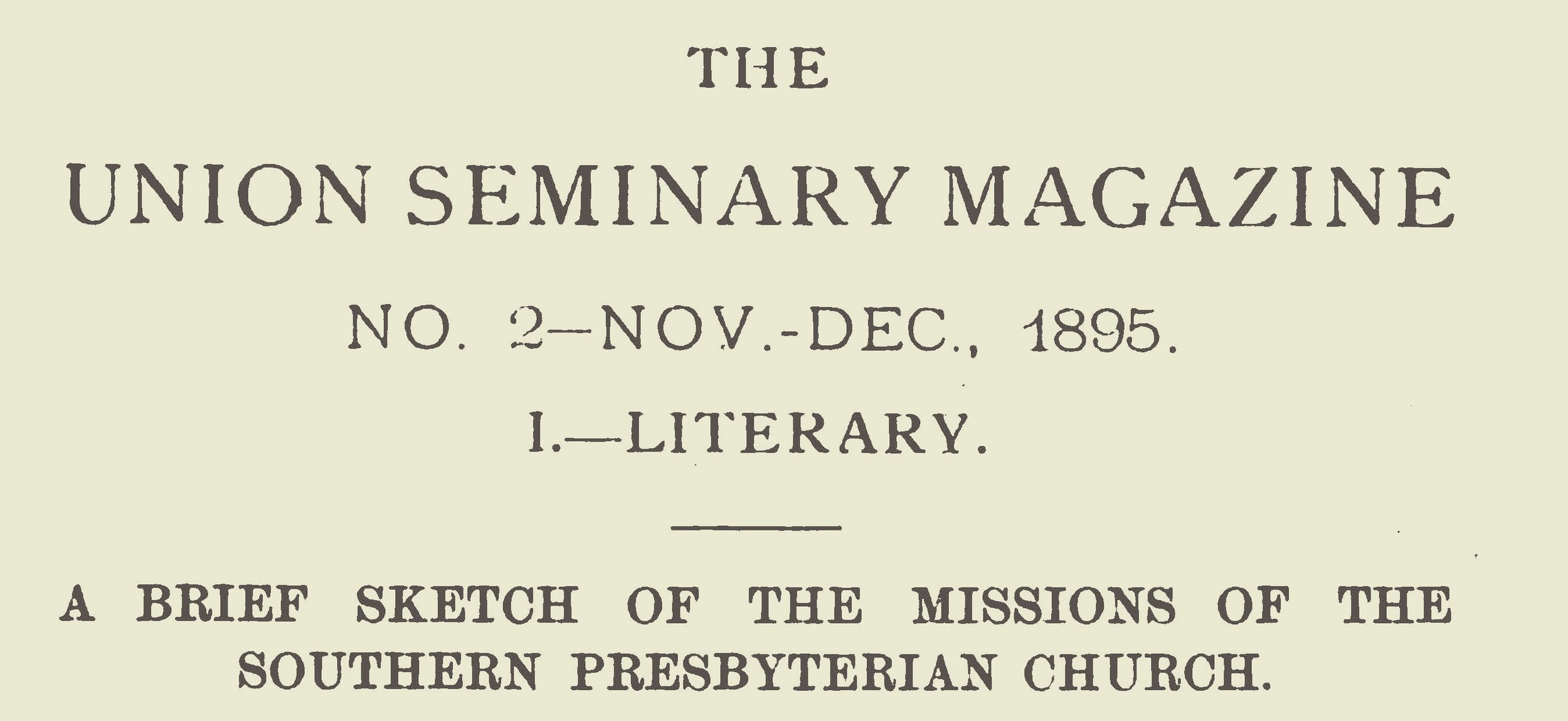 Johnson, Thomas Cary, A Brief Sketch of the Missions of the Southern Presbyterian Church Title Page.jpg