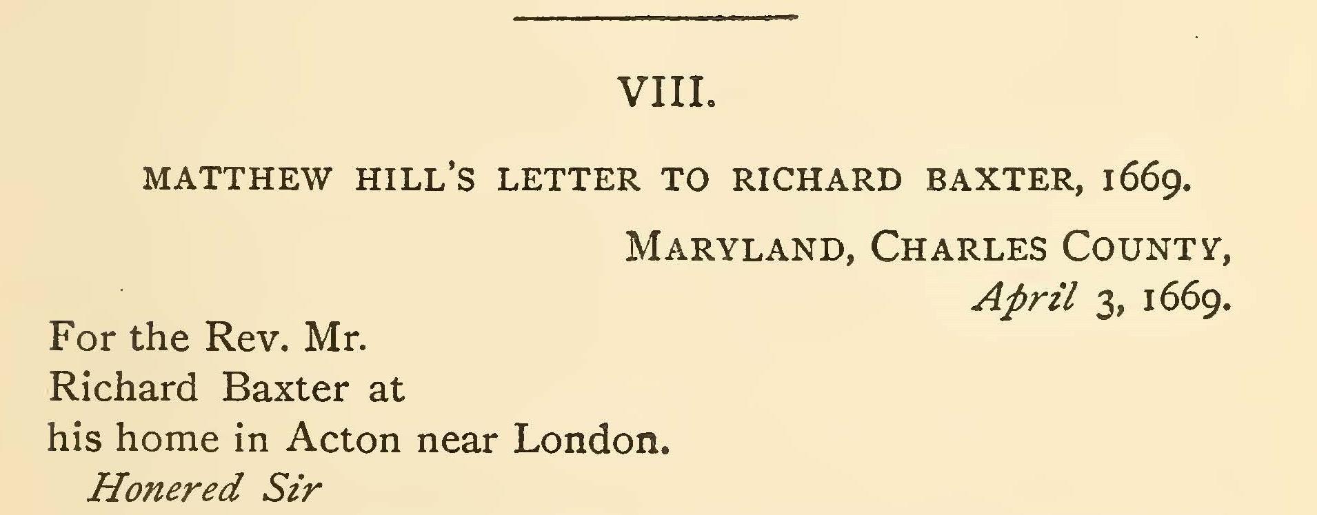 Hill, Matthew, Letter to Richard Baxter Title Page.jpg