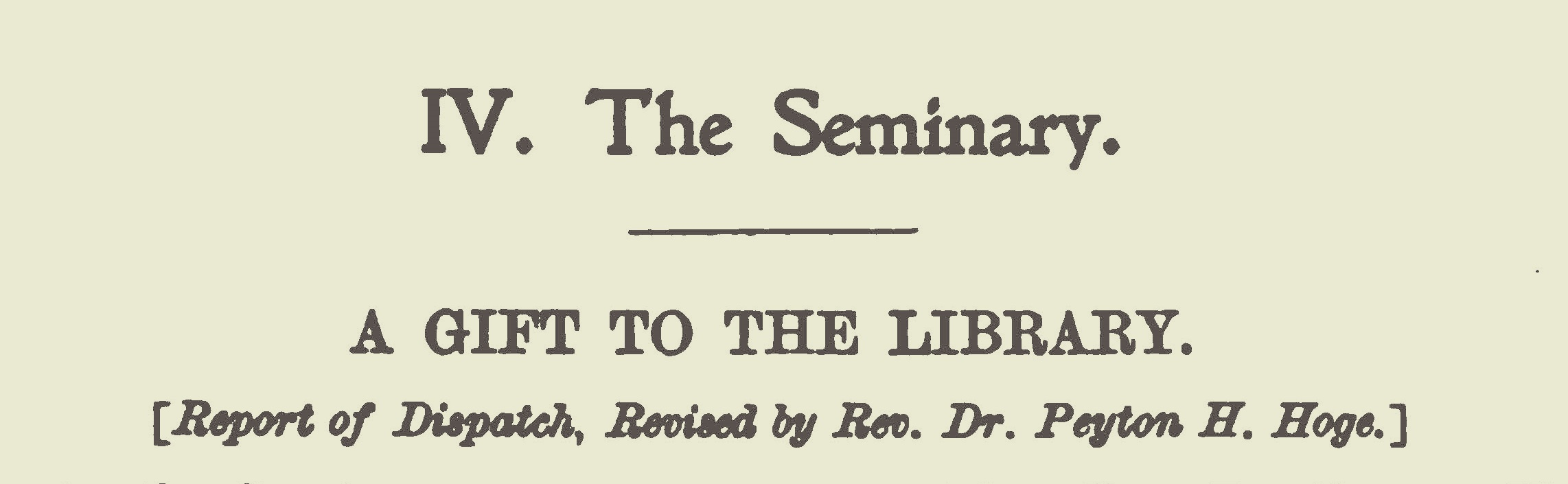 Hoge, Peyton Harrison, A Gift to the Library Title Page.jpg