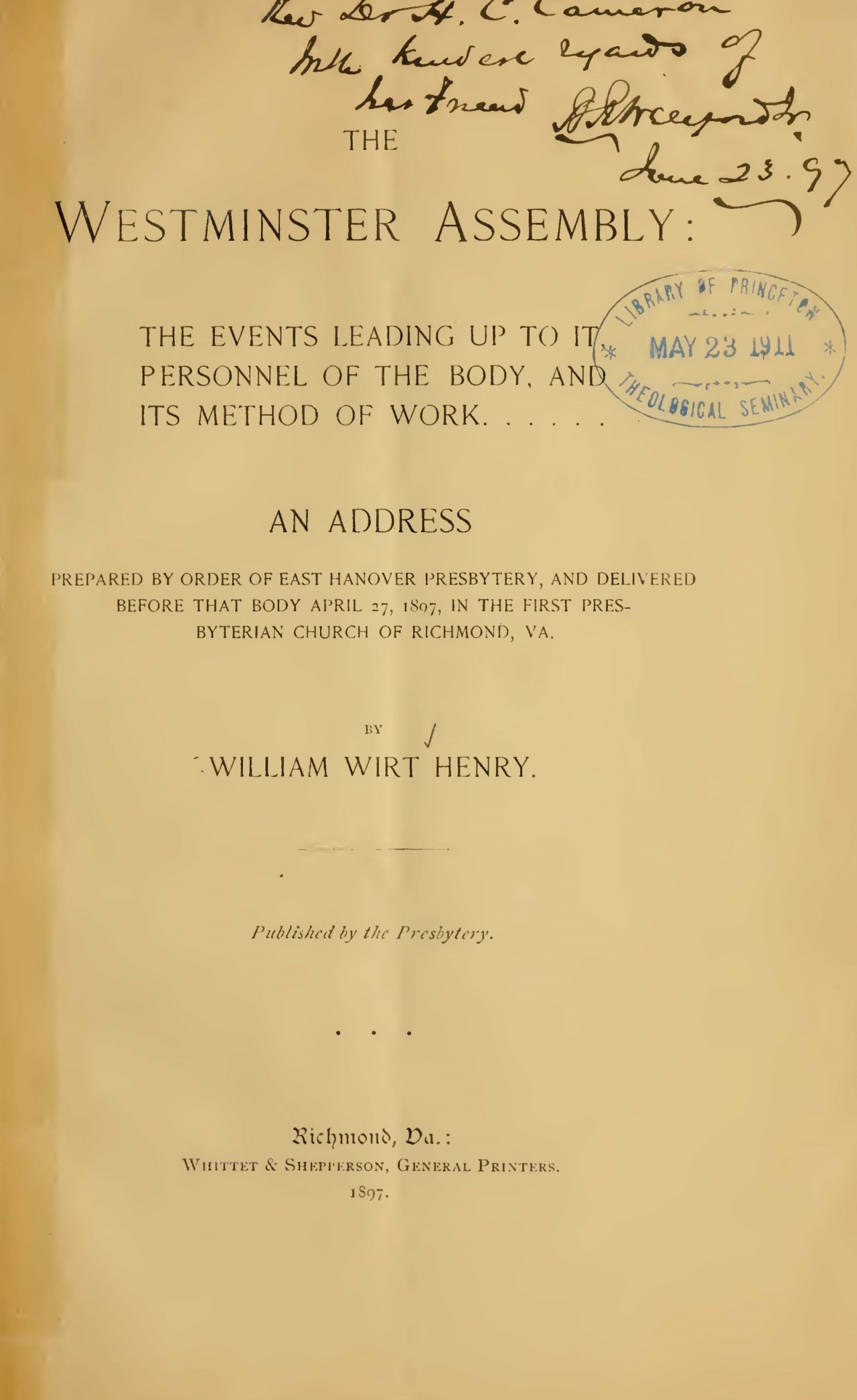 Henry, William Wirt, The Westminster Assembly Title Page.jpg