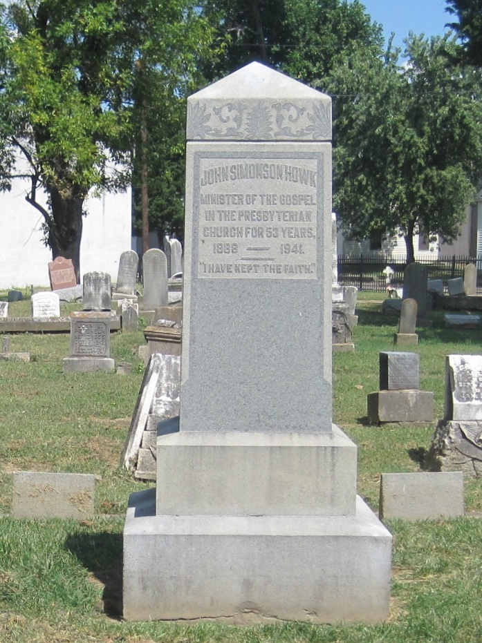John Simonson Howk is buried at Fairview Cemetery, New Albany, Indiana.