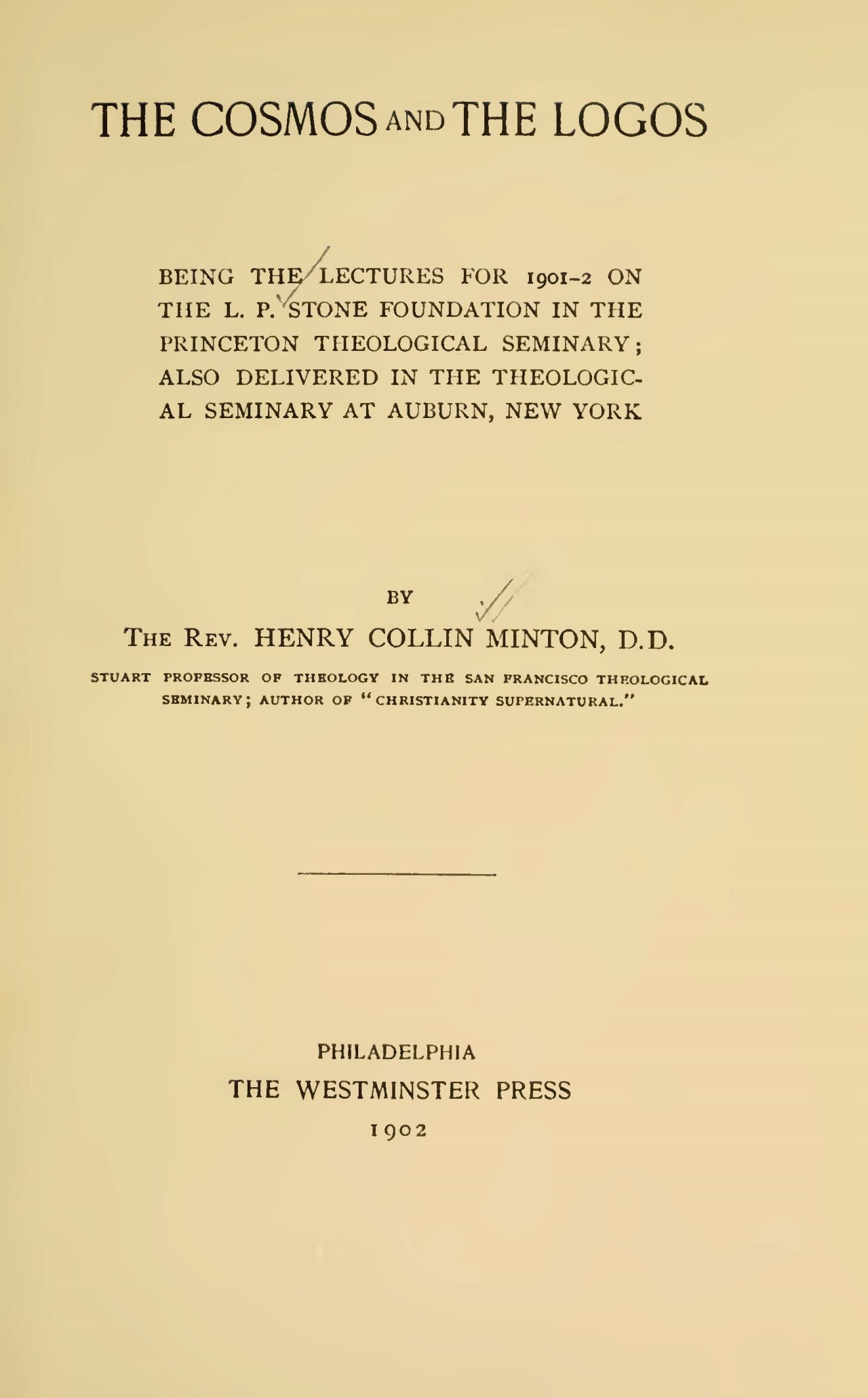 Minton, Henry Collin, The Cosmos and the Logos Title Page.jpg