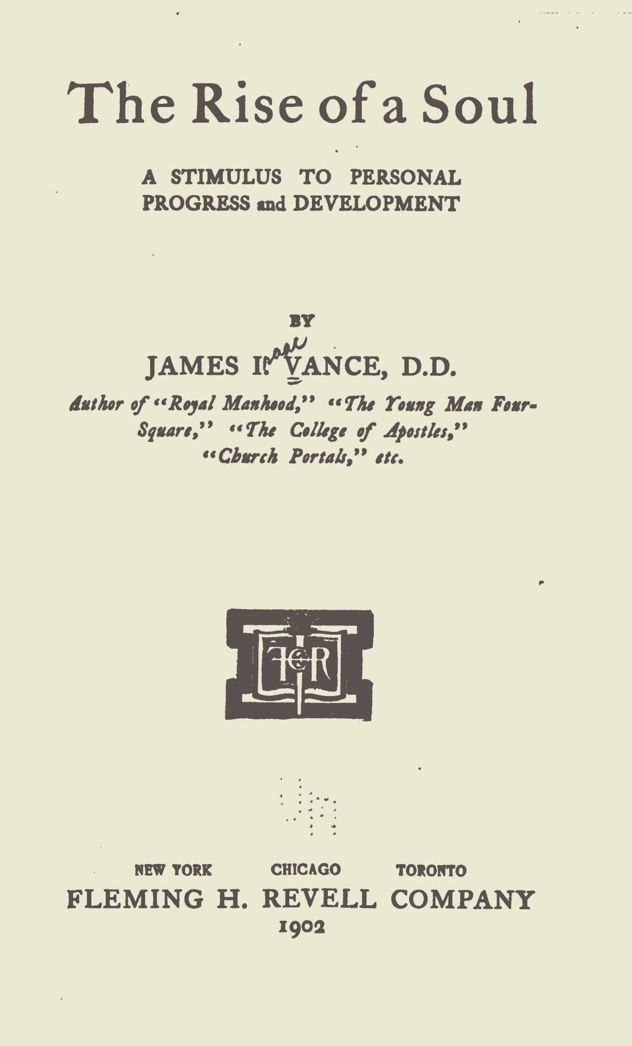 Vance, James Isaac, The Rise of a Soul Title Page.jpg