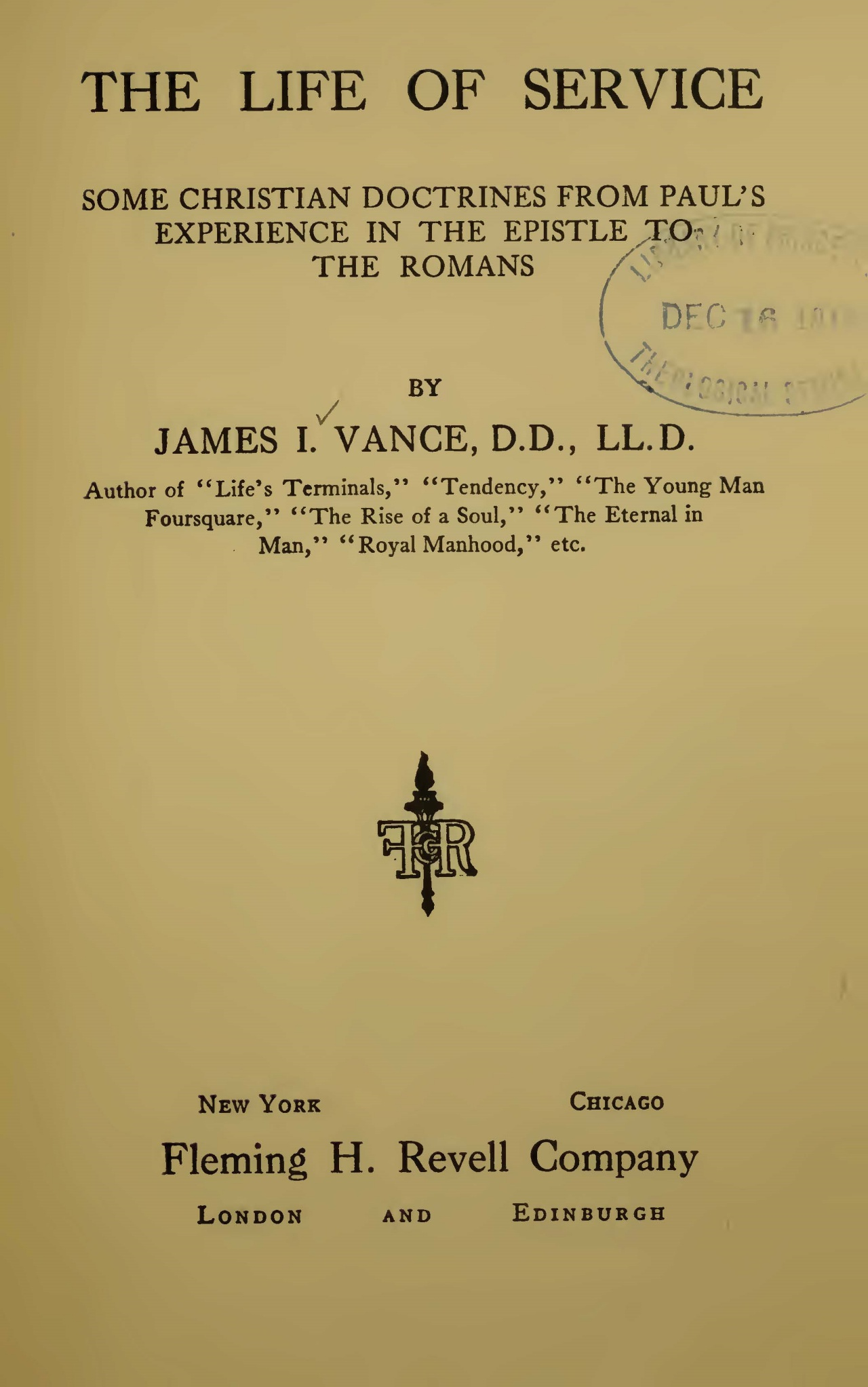 Vance, James Isaac, The Life of Service Title Page.jpg