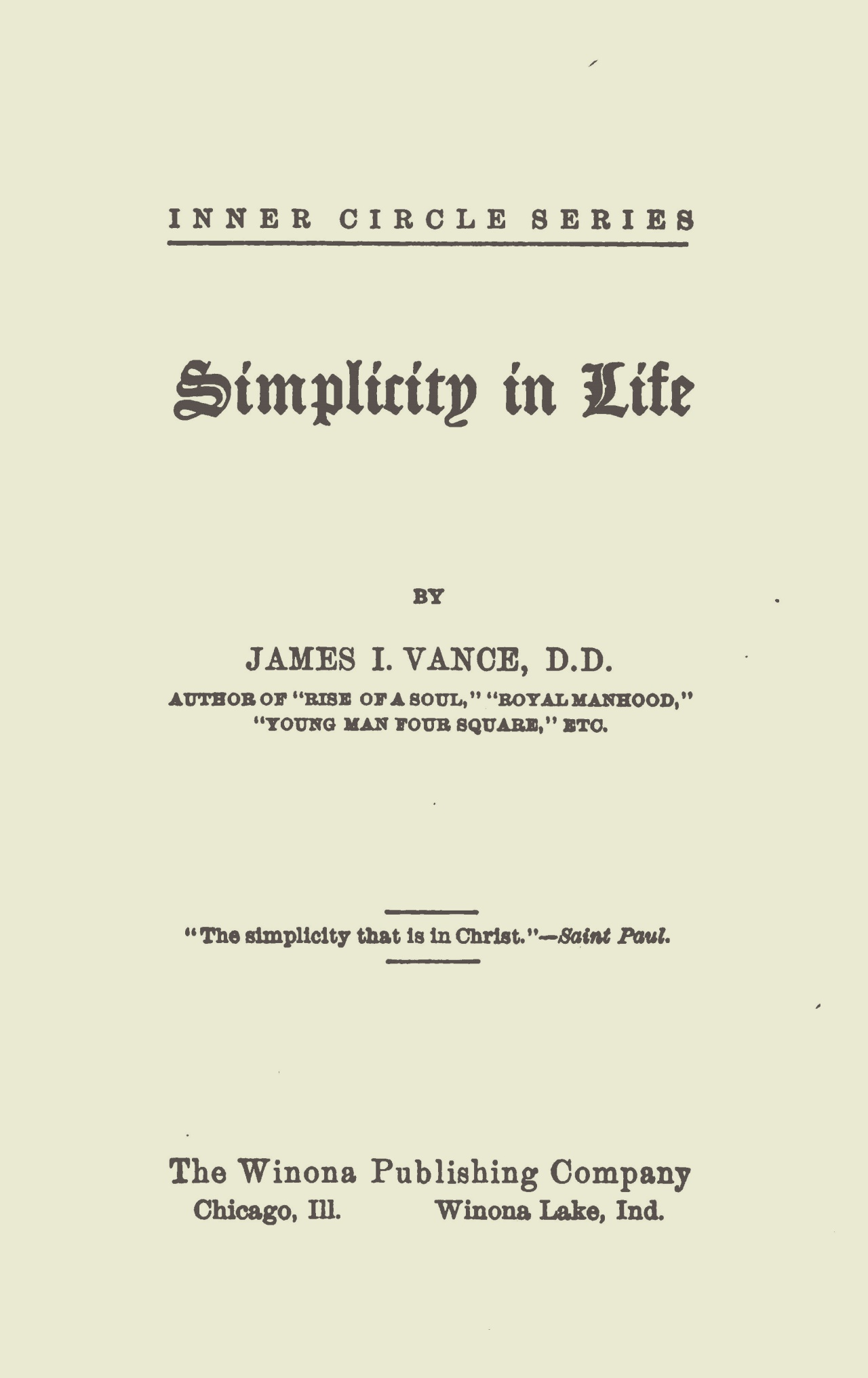 Vance, James Isaac, Simplicity in Life Title Page.jpg