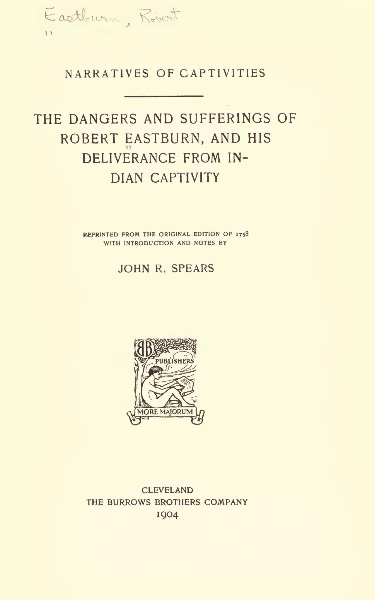 Eastburn, Robert, The Dangers and Sufferings of Robert Eastburn Title Page.jpg