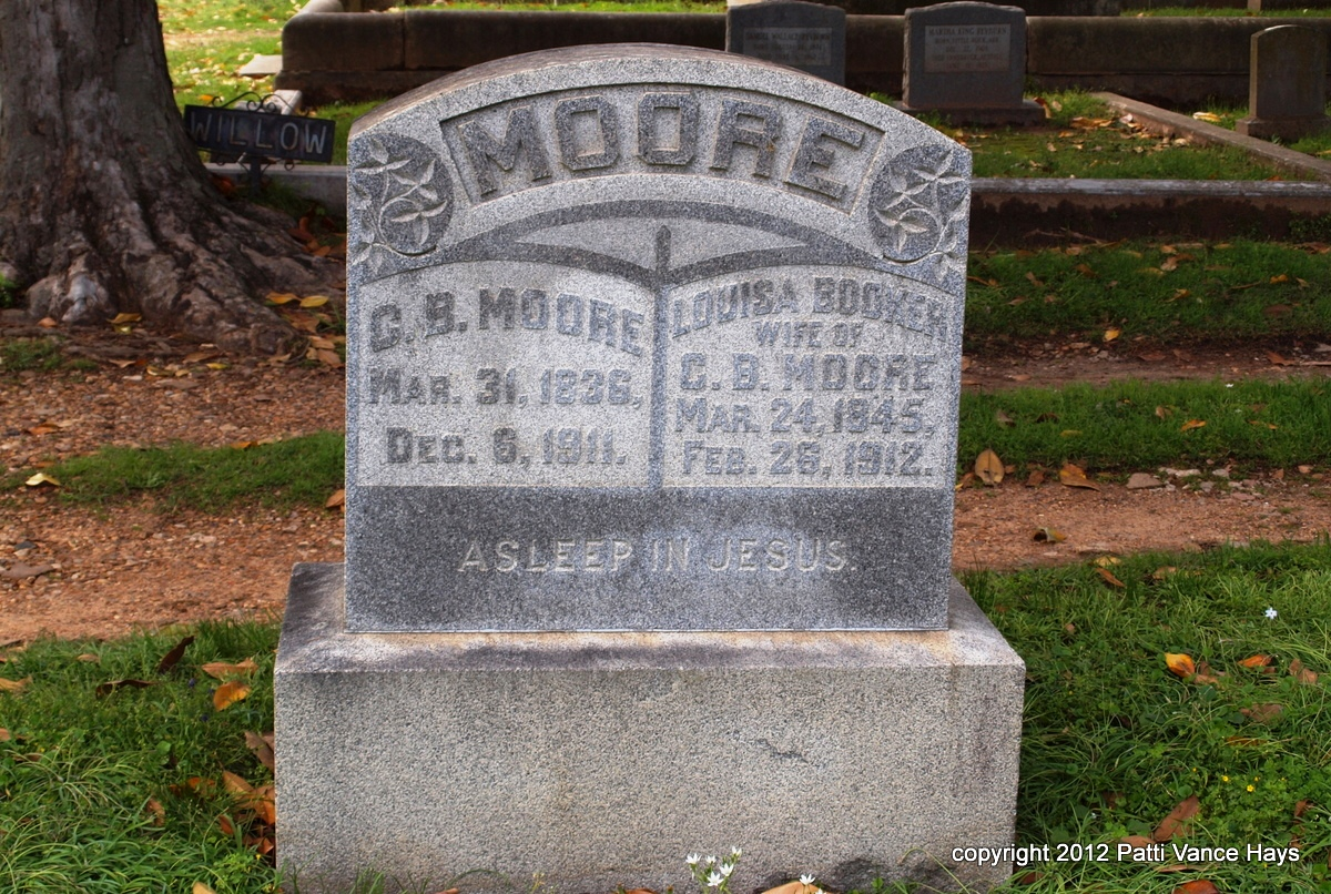 Charles Beatty Moore is buried at Mount Holly Cemetery, Little Rock, Arkansas.