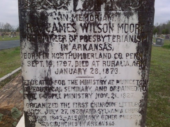 James Wilson Moore is buried at Sylvania Cemetery, Sylvania, Arkansas.