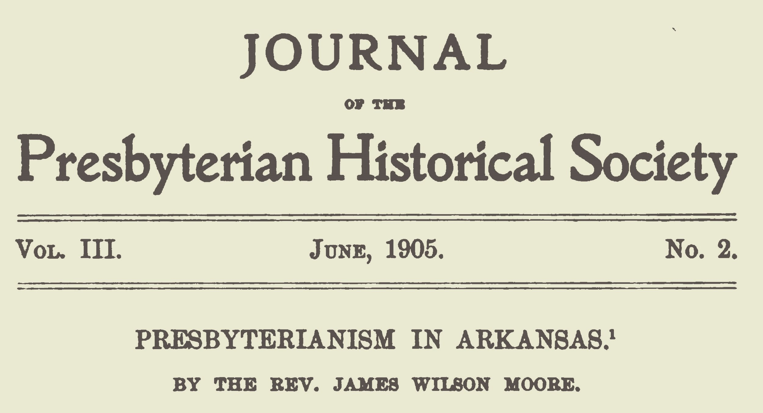 Moore, James Wilson, Presbyterianism in Arkansas Title Page.jpg