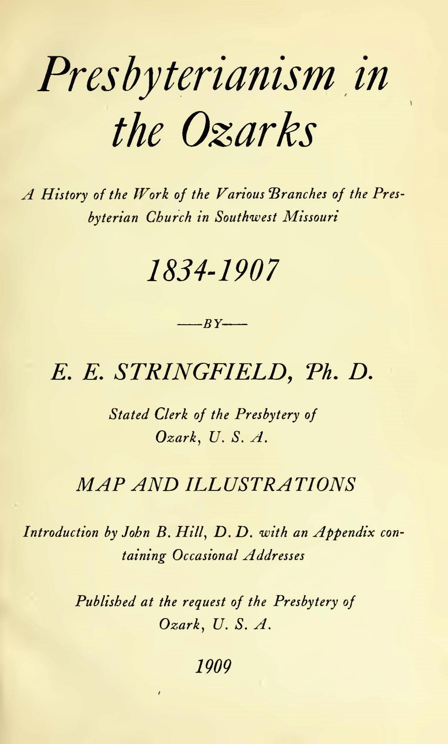 Stringfield, Eugene Edward, Presbyterianism in the Ozarks Title Page.jpg