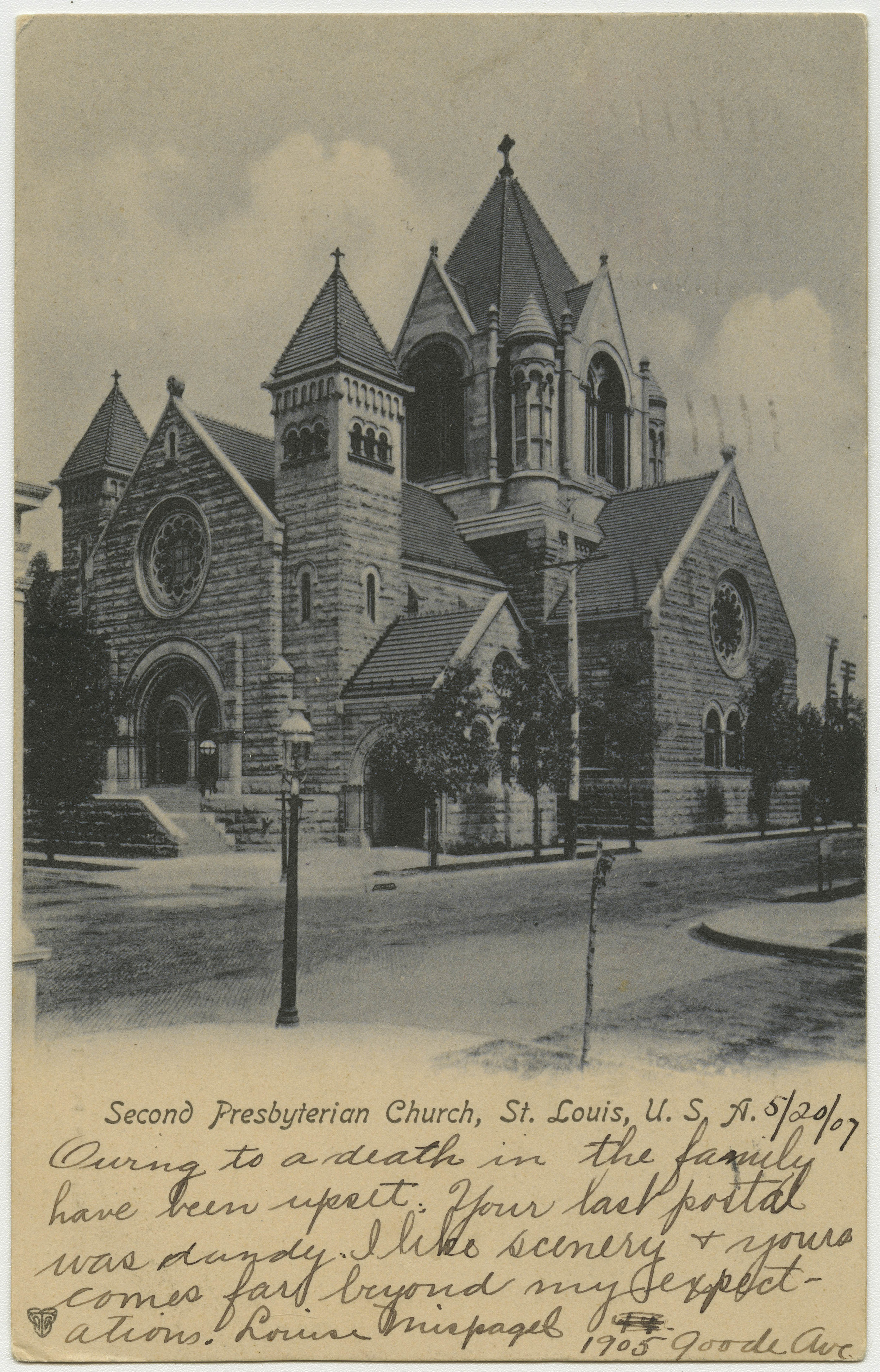 Eugene Edward Stringfield served as pastor of the historic Second Presbyterian Church of Springfield, Missouri (pictured here in 1907) from 1895 to 1911. He is buried at Riverview Cemetery, Jefferson City, Missouri.