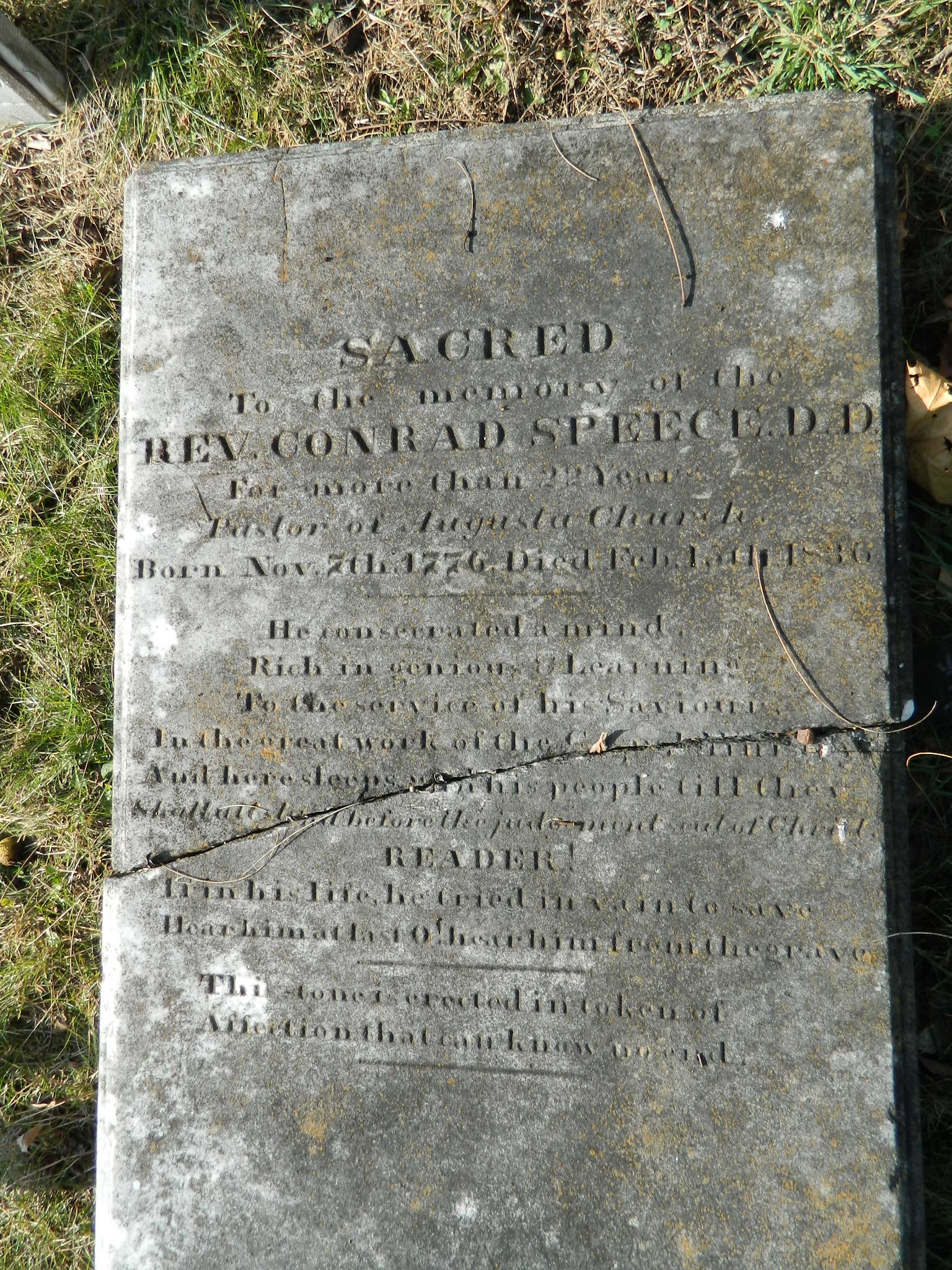 Conrad Speece, who served as the pastor of the Augusta Stone Presbyterian Church for 22 years, is buried at the Augusta Stone Presbyterian Church Cemetery, Fort Defiance, Virginia.
