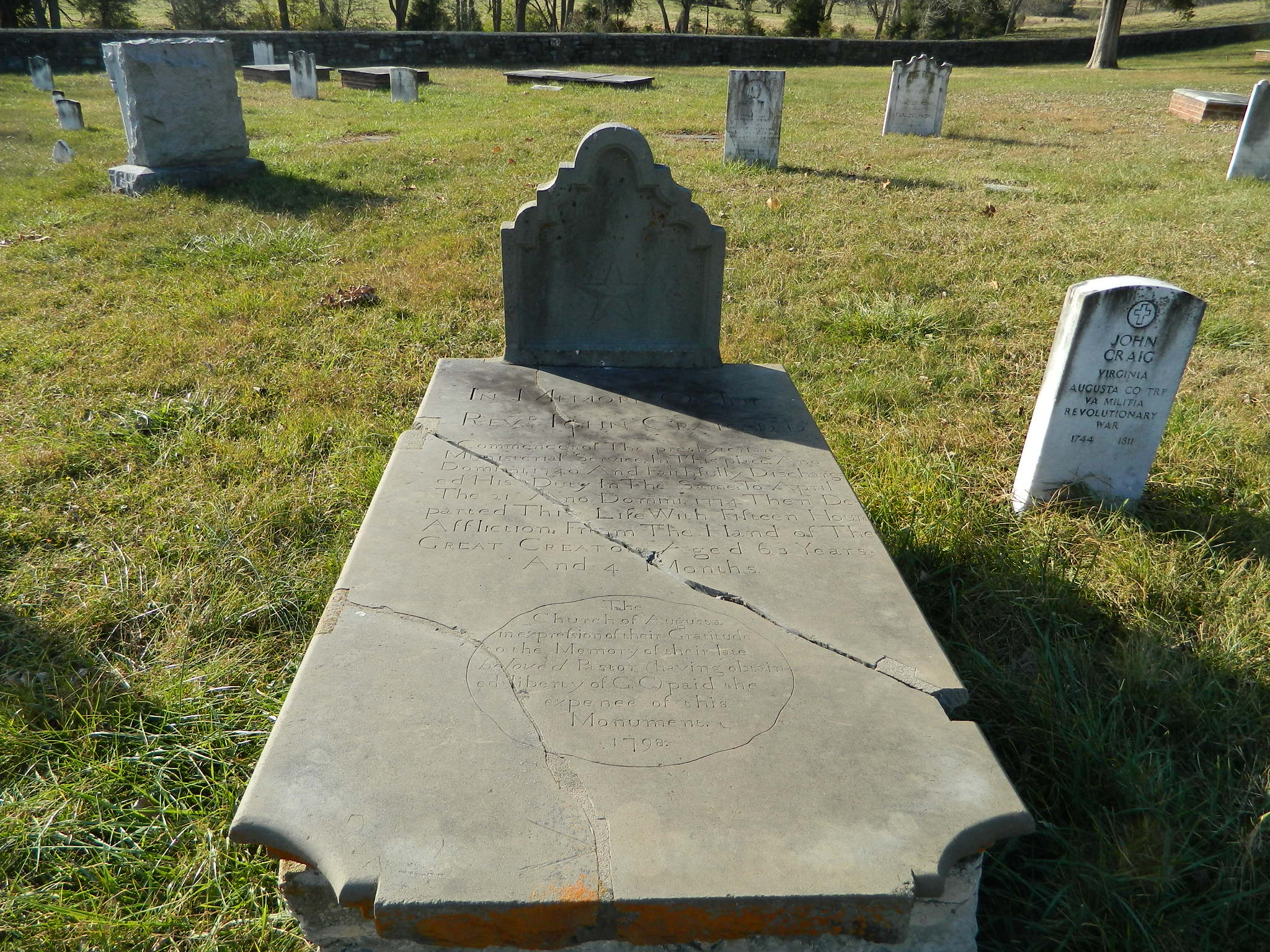 John Craig is buried at the Augusta Stone Presbyterian Church, Cemetery, Fort Defiance, Virginia.