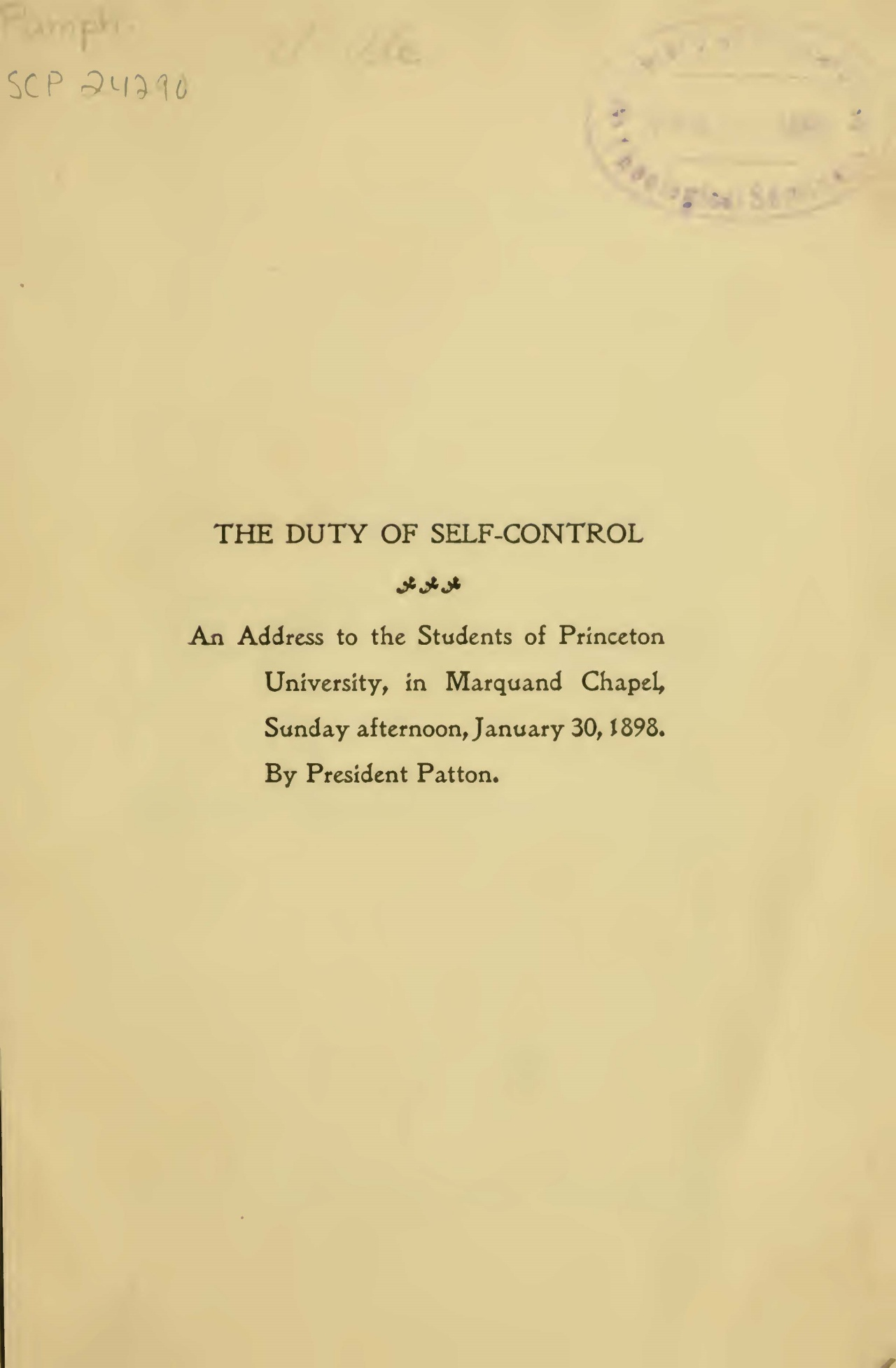 Patton, Francis Landey, The Duty of Self-Control Title Page.jpg
