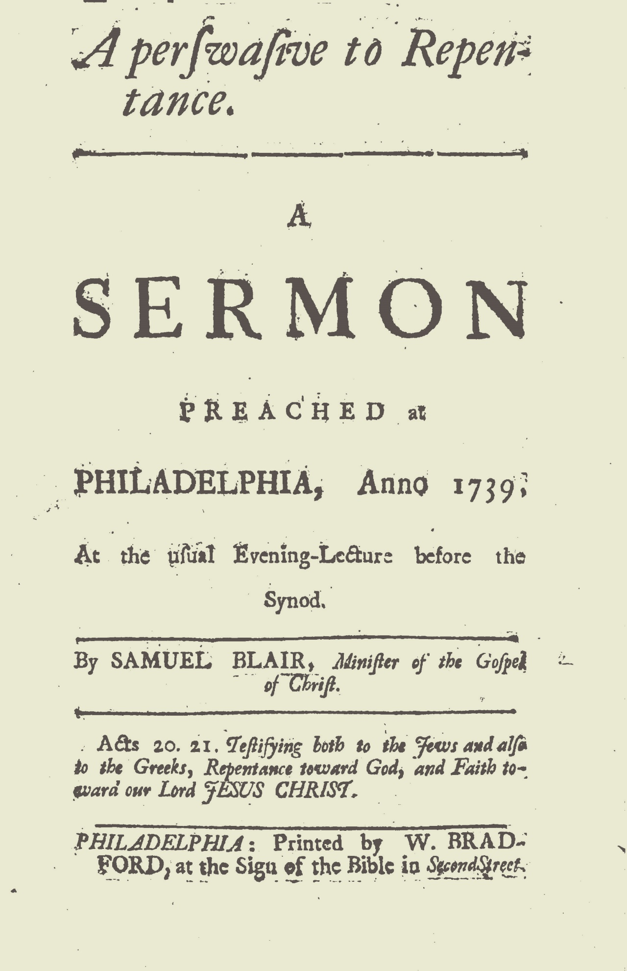 Blair, Samuel Jacob, A Perswasive to Repentance Title Page.jpg